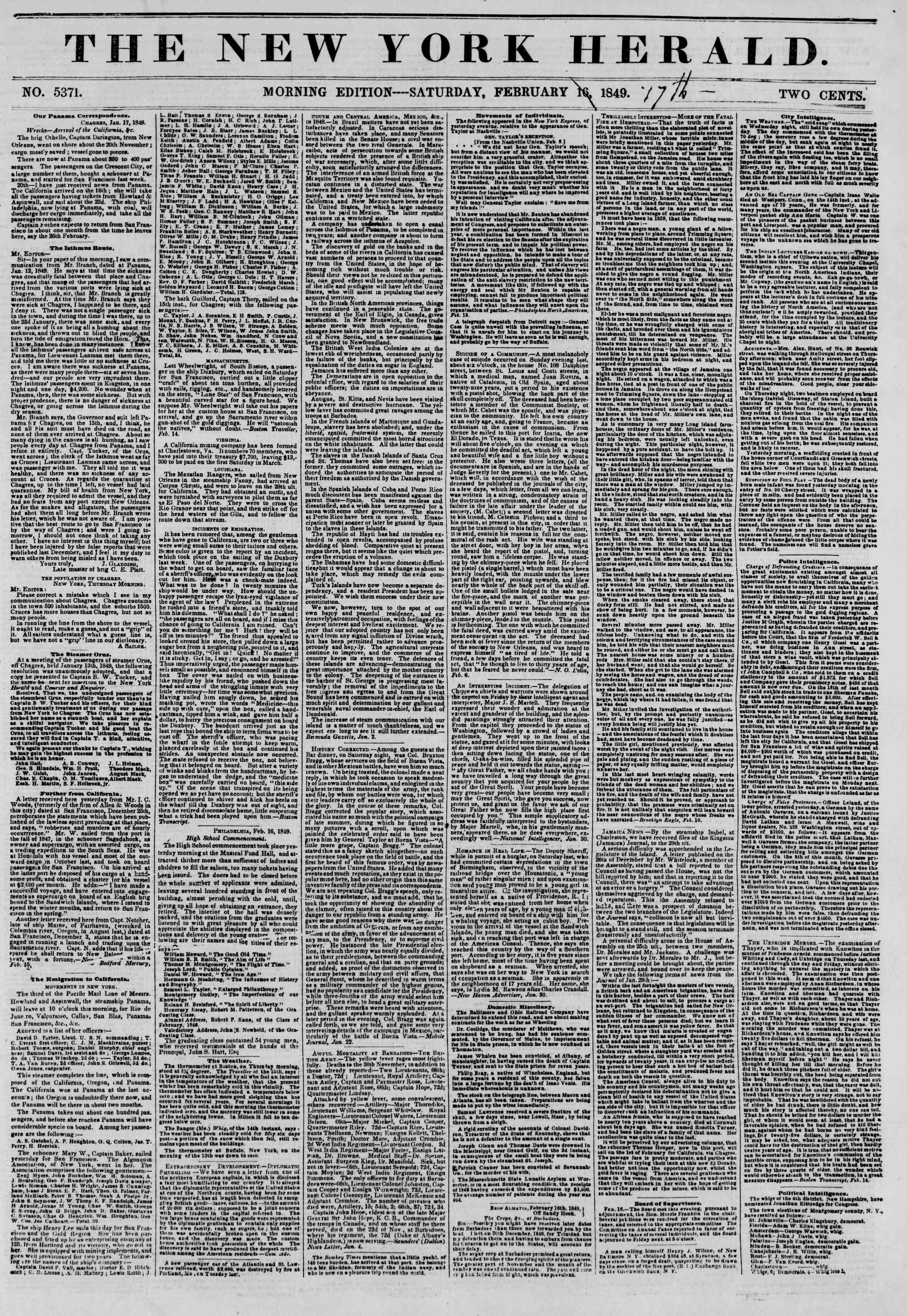 Newspaper of The New York Herald dated February 17, 1849 Page 1