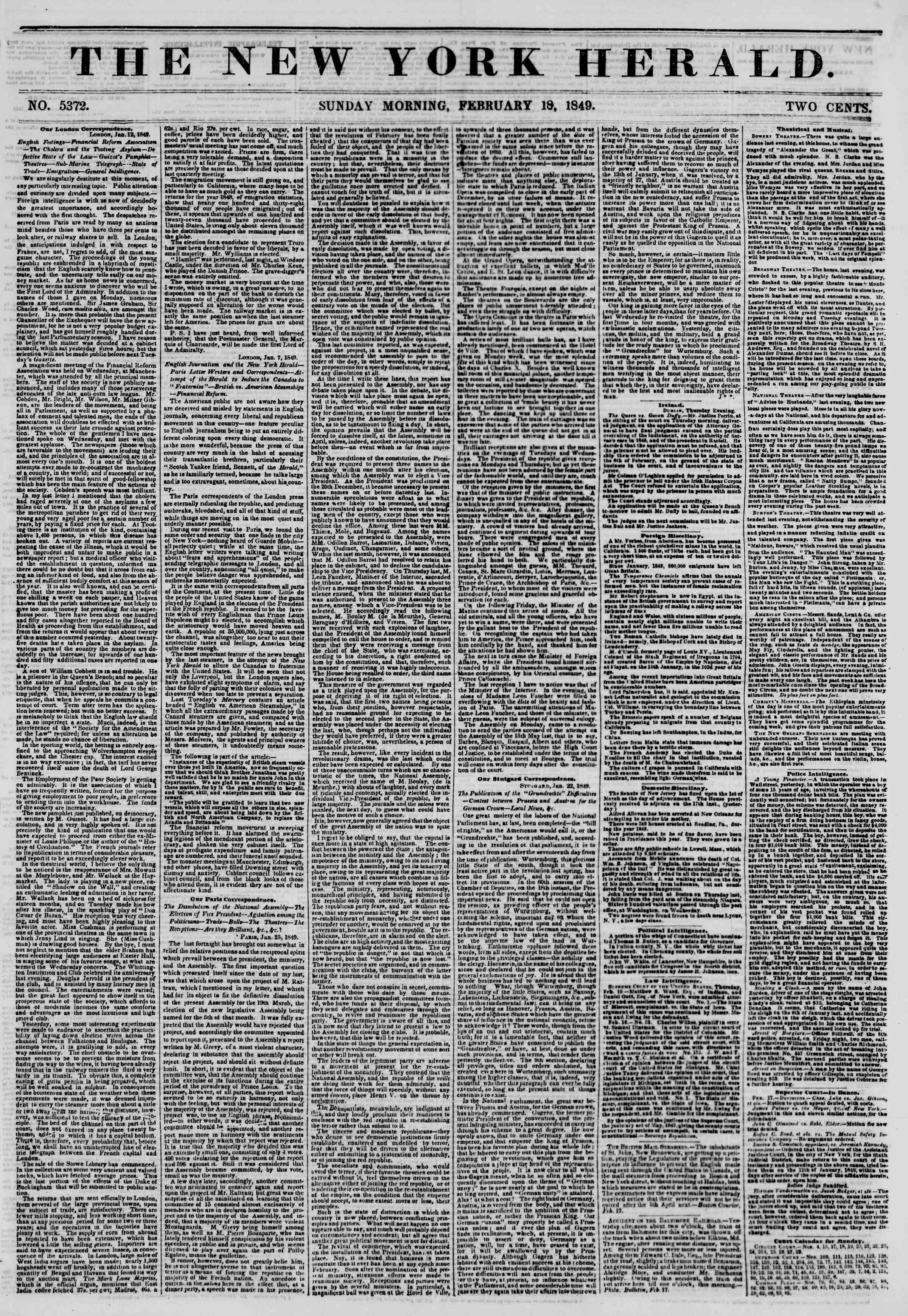 Newspaper of The New York Herald dated February 18, 1849 Page 1