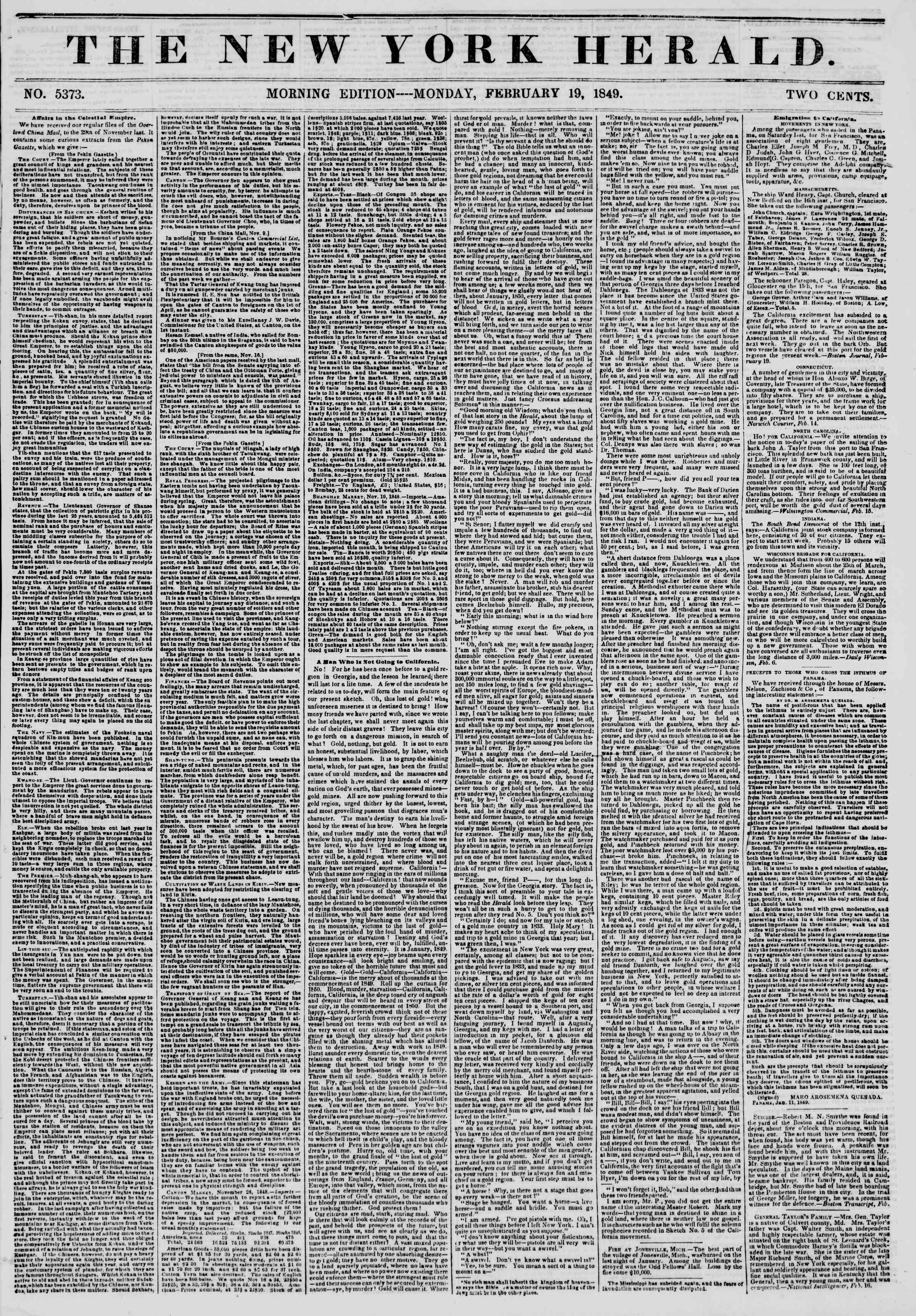 Newspaper of The New York Herald dated February 19, 1849 Page 1