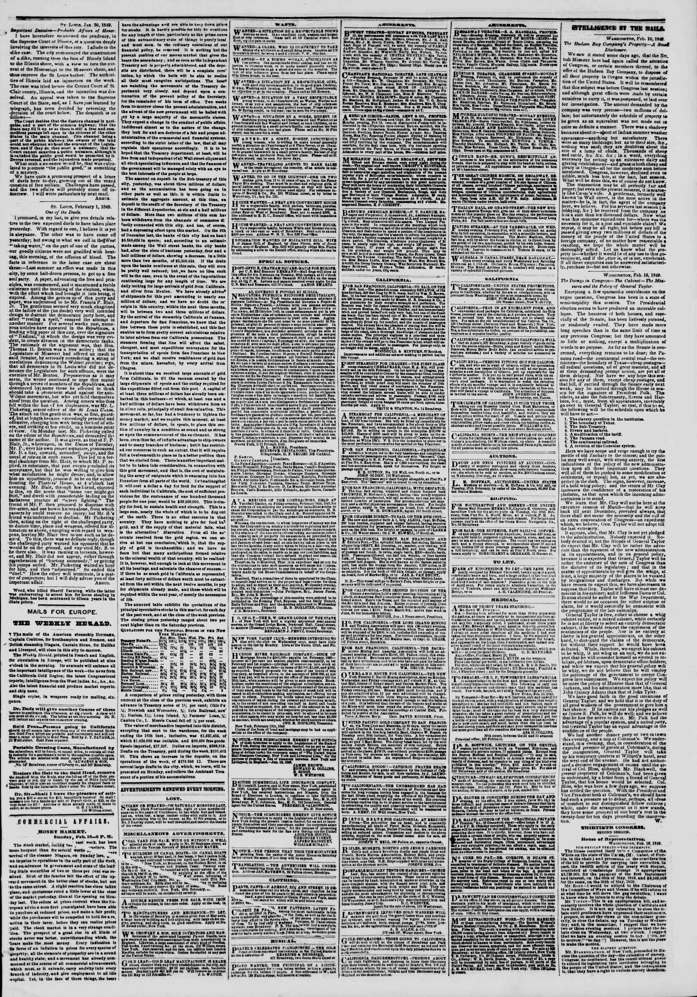Newspaper of The New York Herald dated February 19, 1849 Page 3