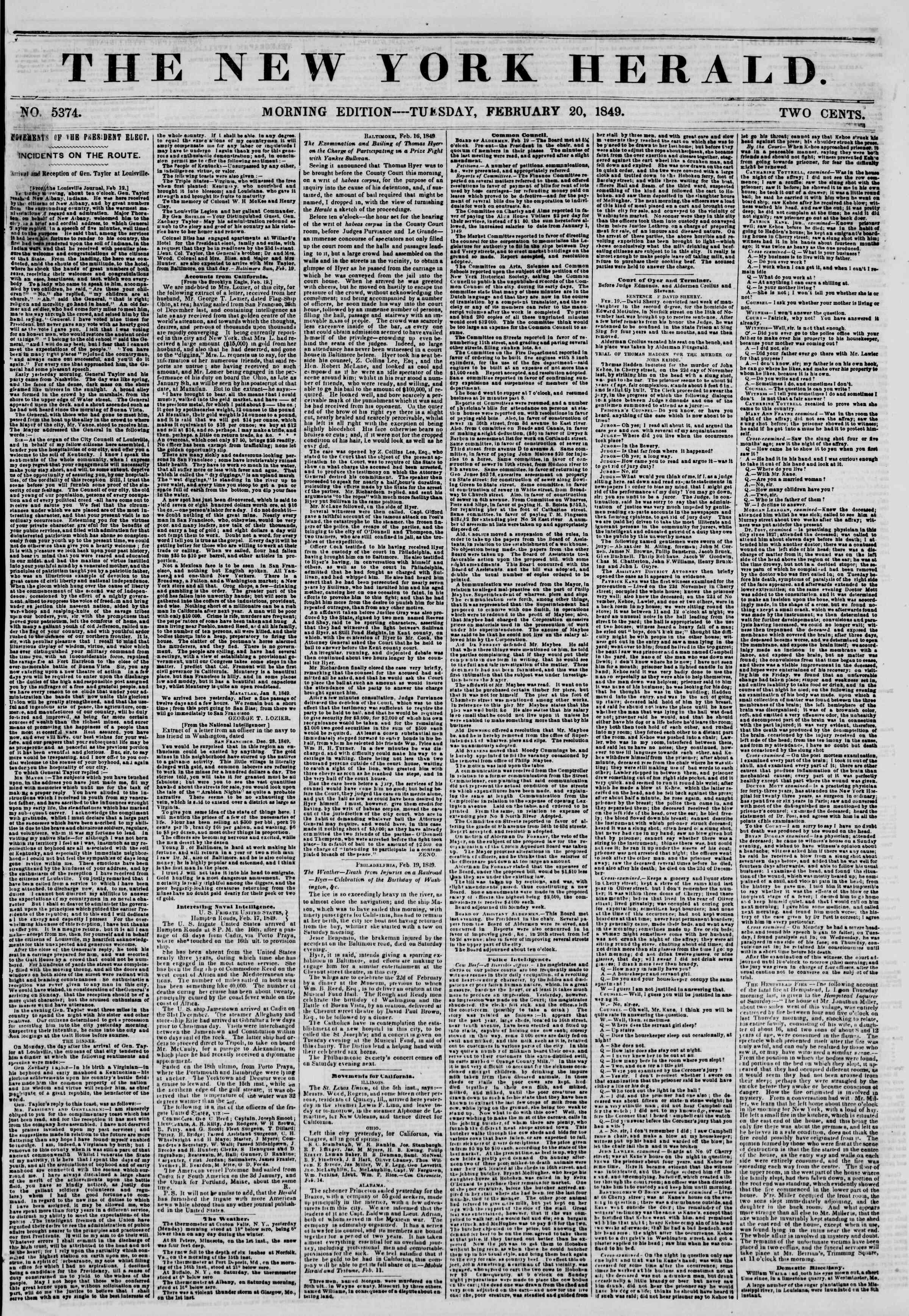 20 Şubat 1849 tarihli The New York Herald Gazetesi Sayfa 1