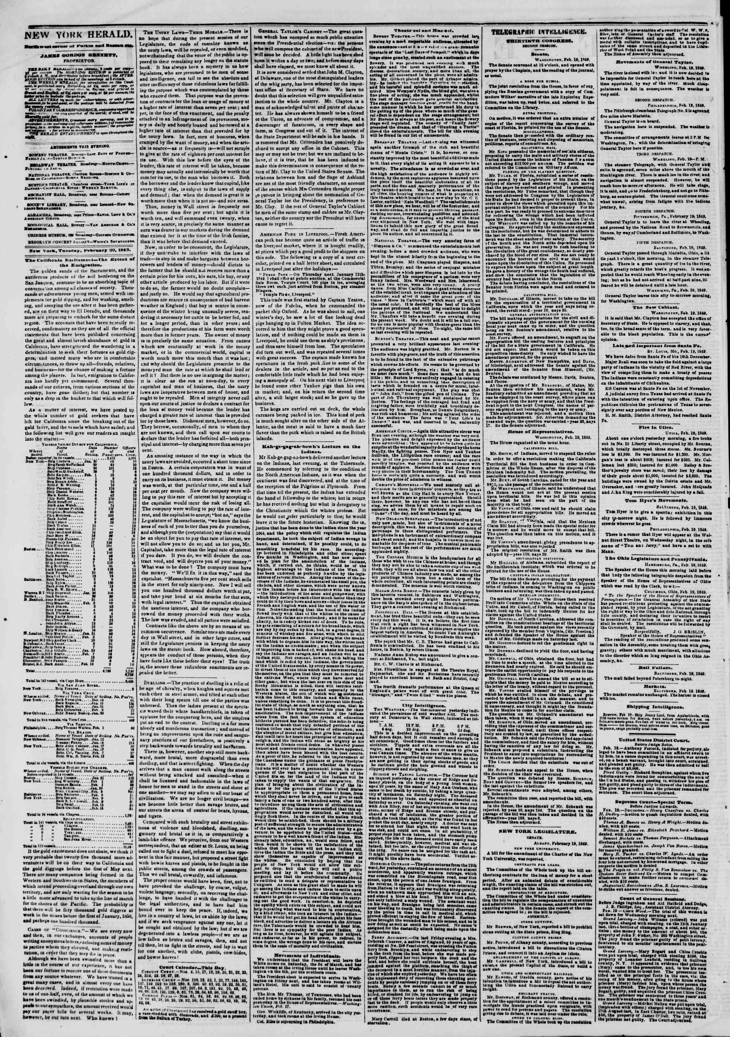 Newspaper of The New York Herald dated February 20, 1849 Page 2