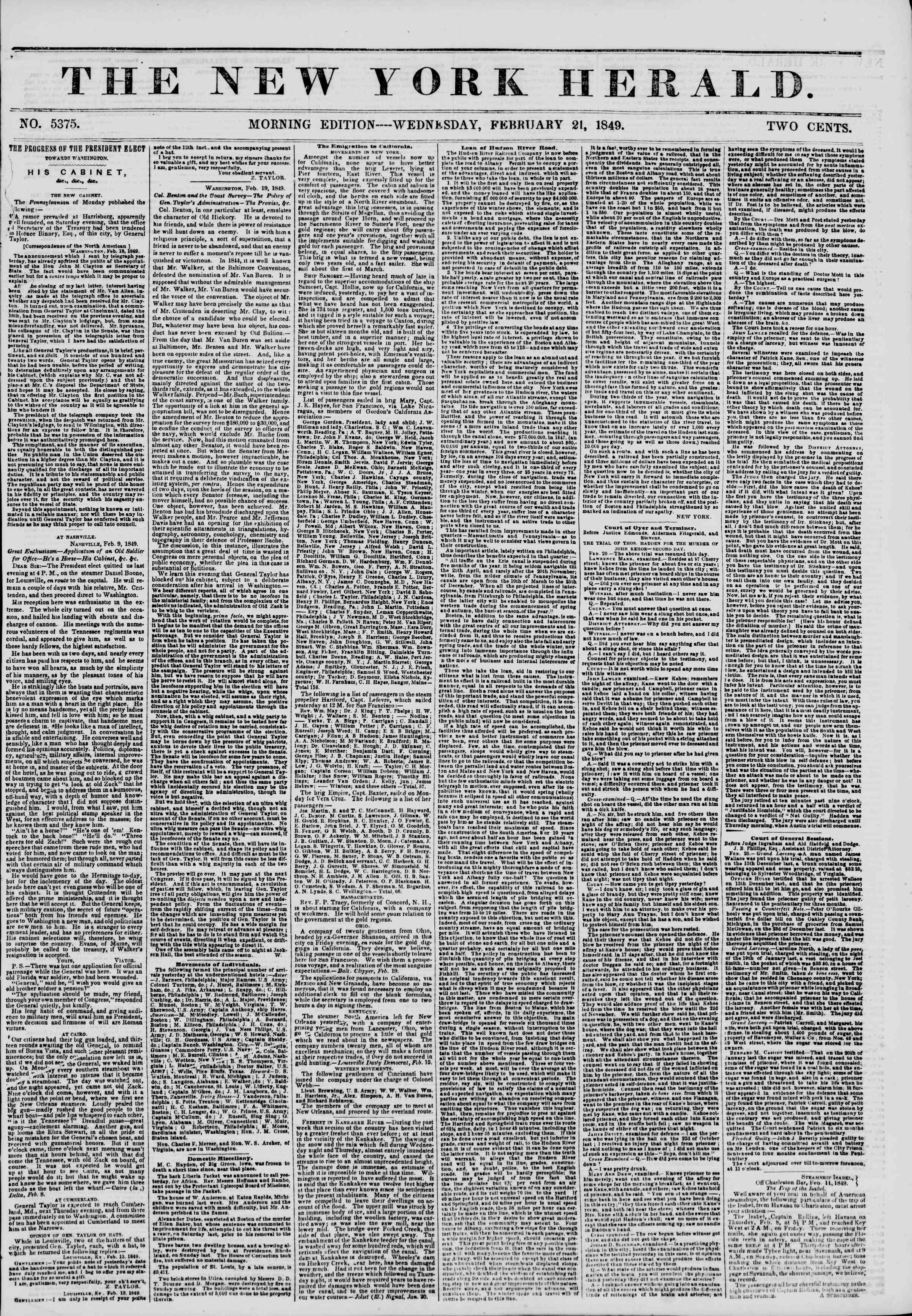 Newspaper of The New York Herald dated February 21, 1849 Page 1