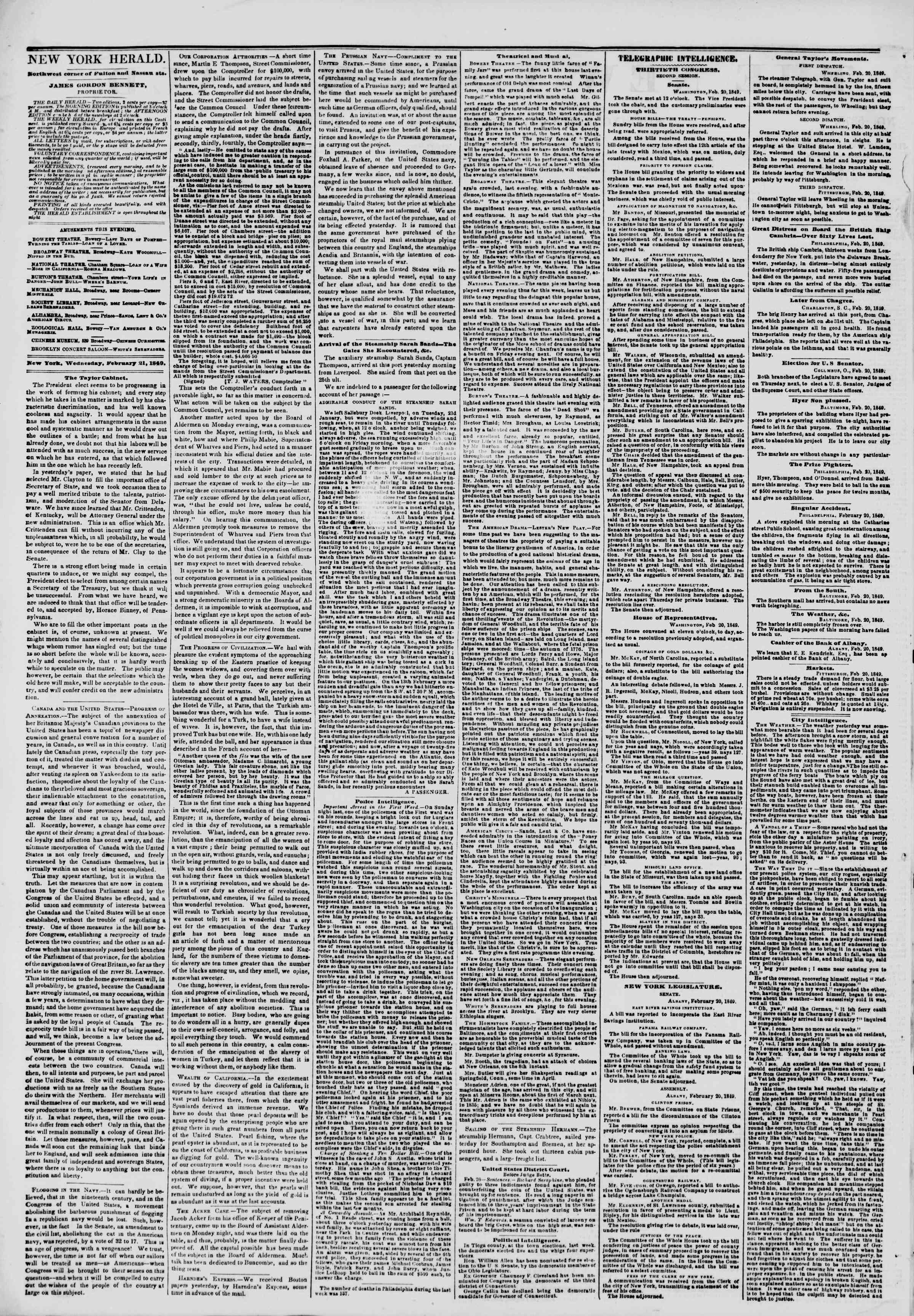 Newspaper of The New York Herald dated February 21, 1849 Page 2