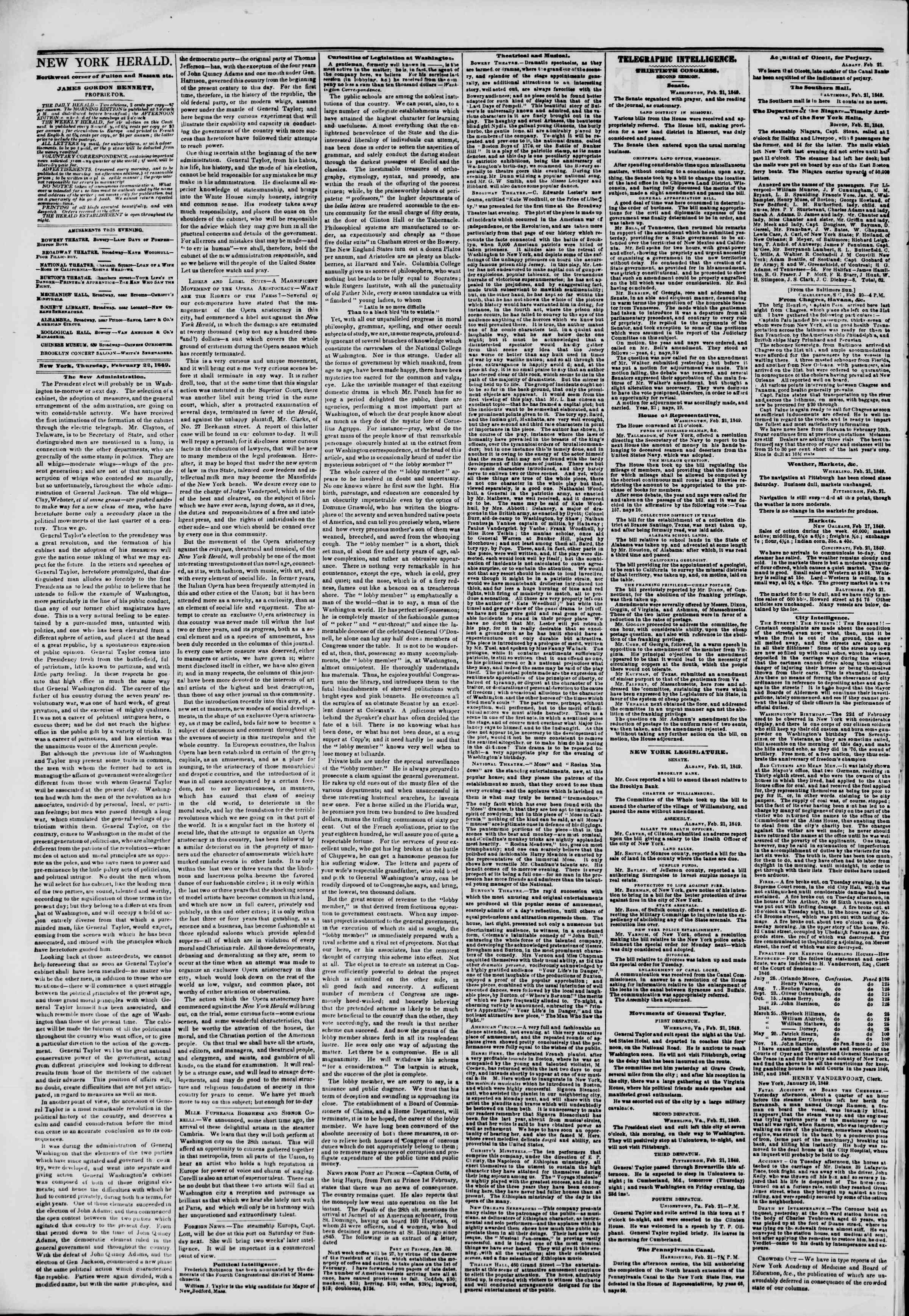 Newspaper of The New York Herald dated February 22, 1849 Page 2