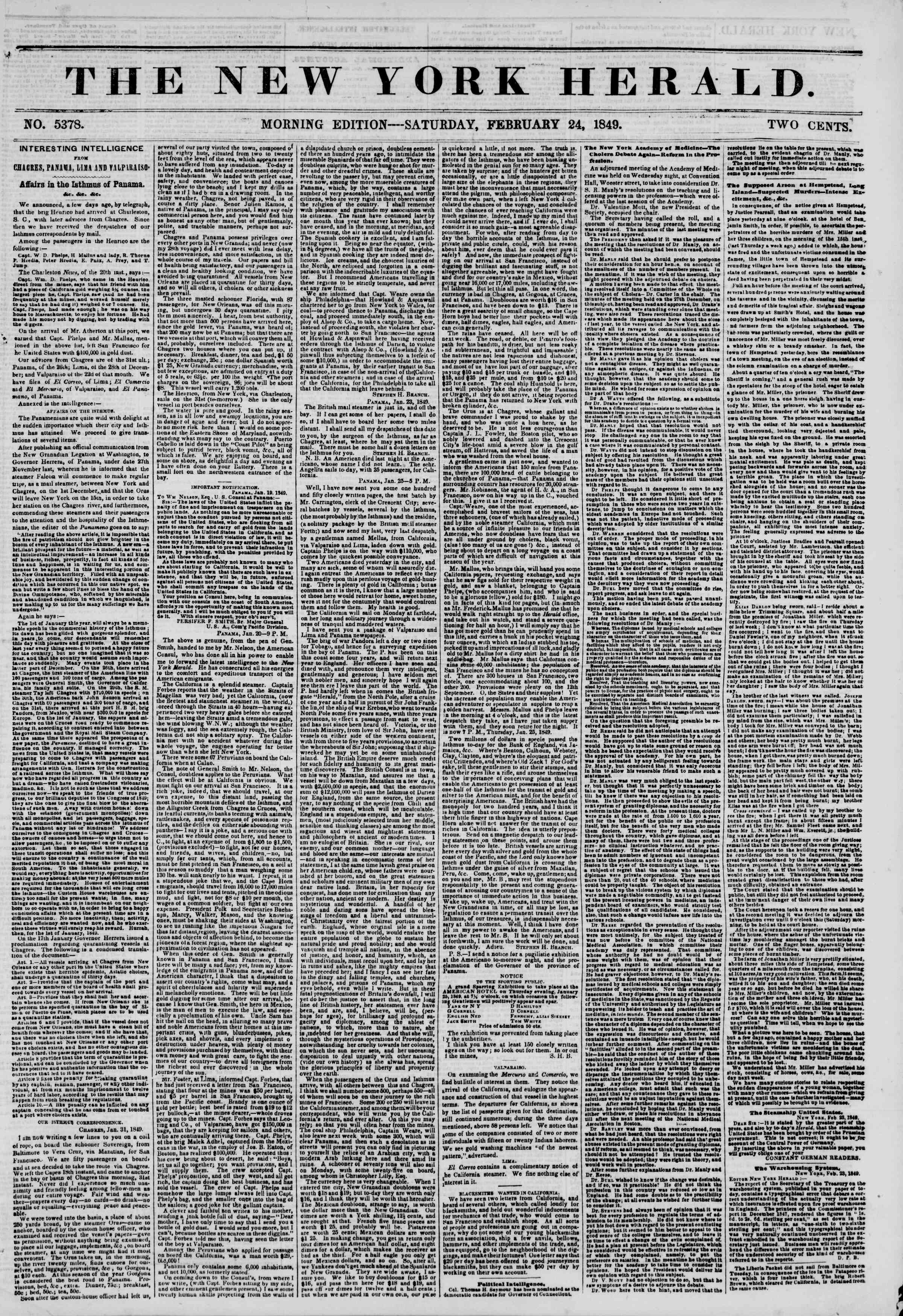 Newspaper of The New York Herald dated February 24, 1849 Page 1