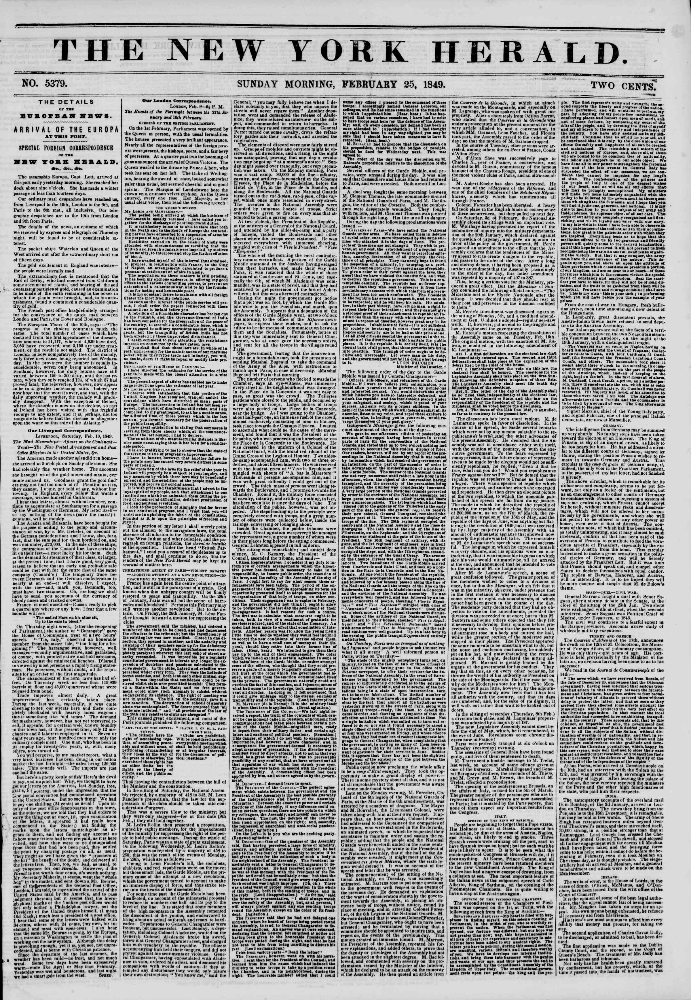 Newspaper of The New York Herald dated February 25, 1849 Page 1