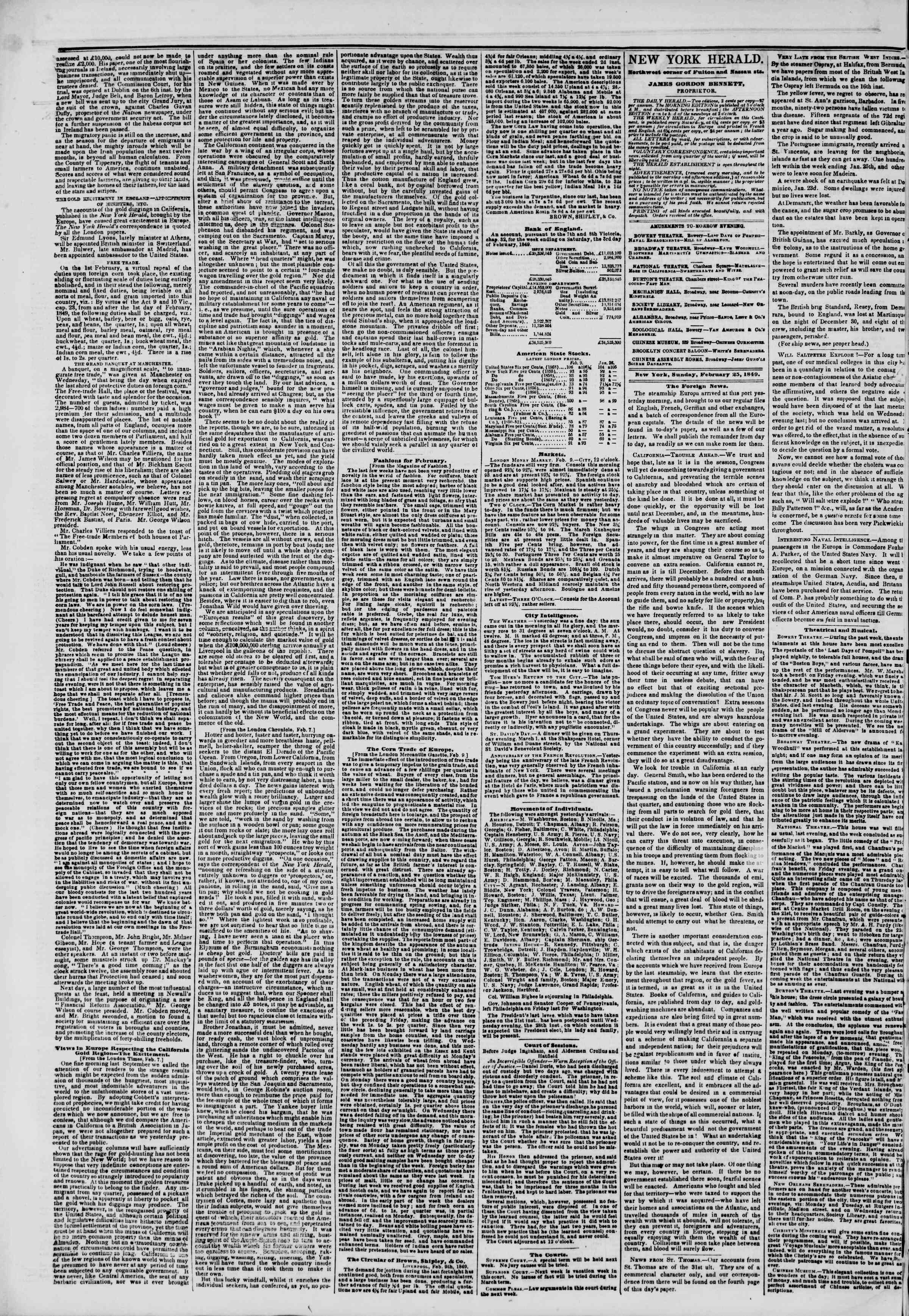 Newspaper of The New York Herald dated February 25, 1849 Page 2