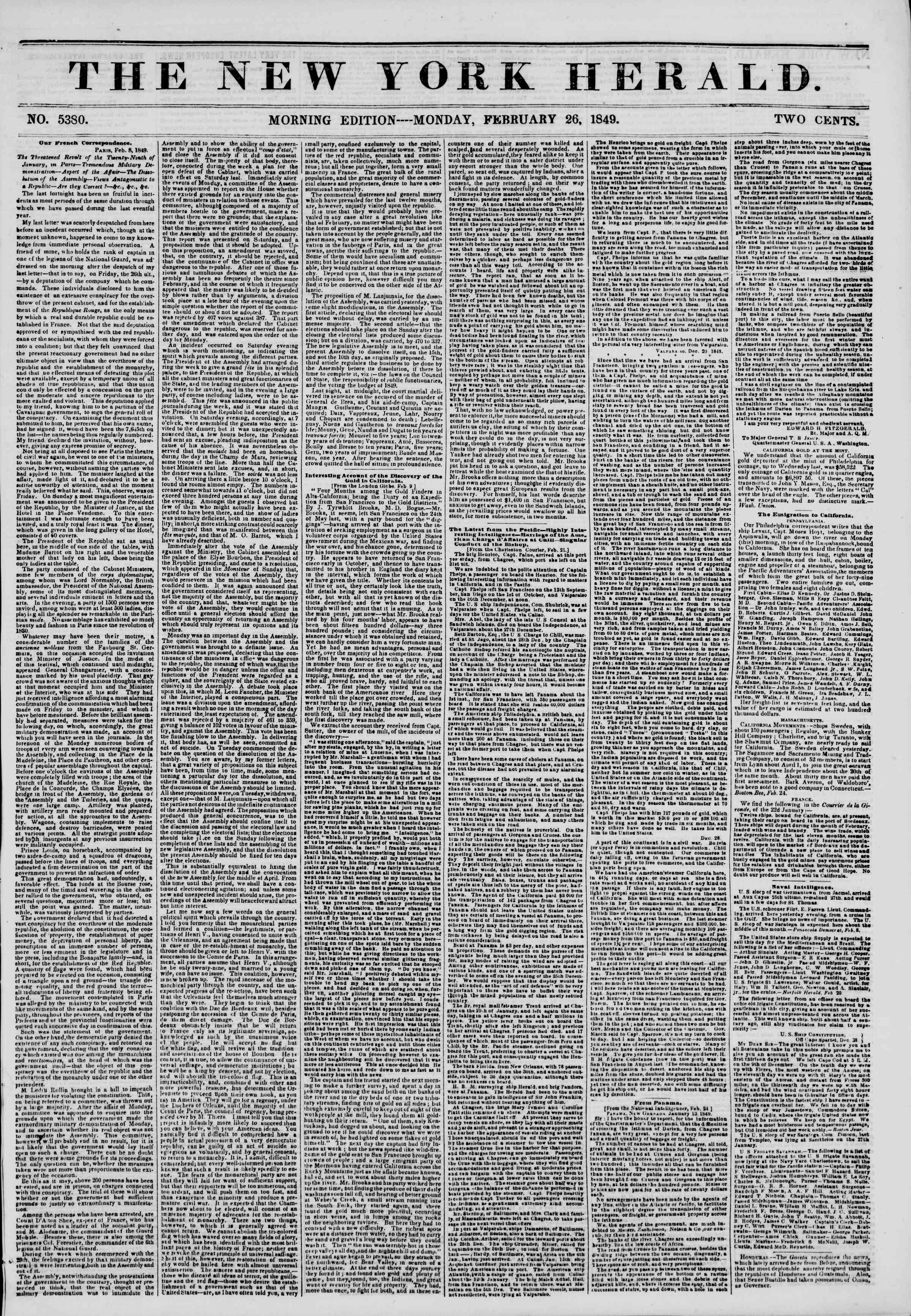 Newspaper of The New York Herald dated February 26, 1849 Page 1