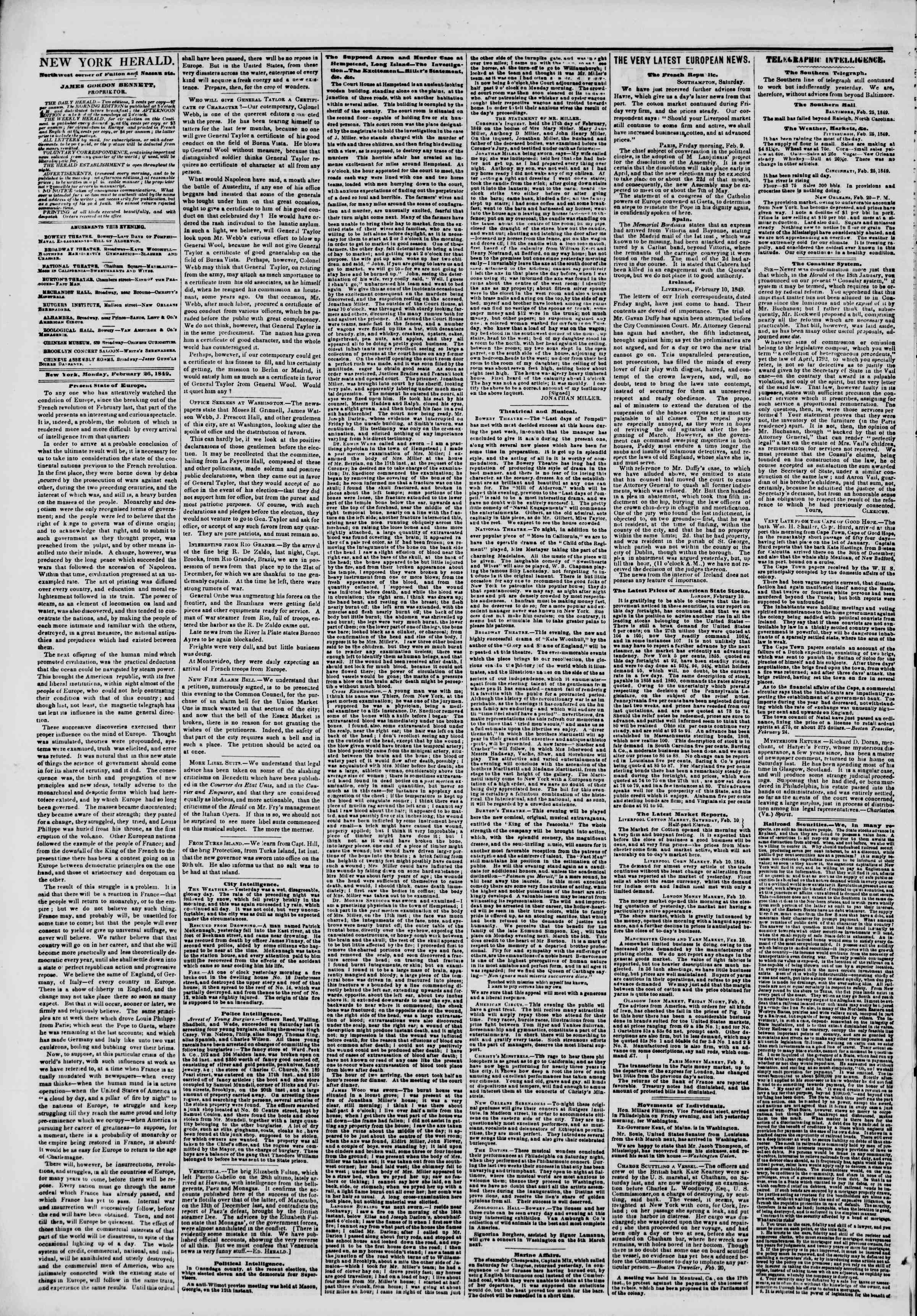 Newspaper of The New York Herald dated February 26, 1849 Page 2