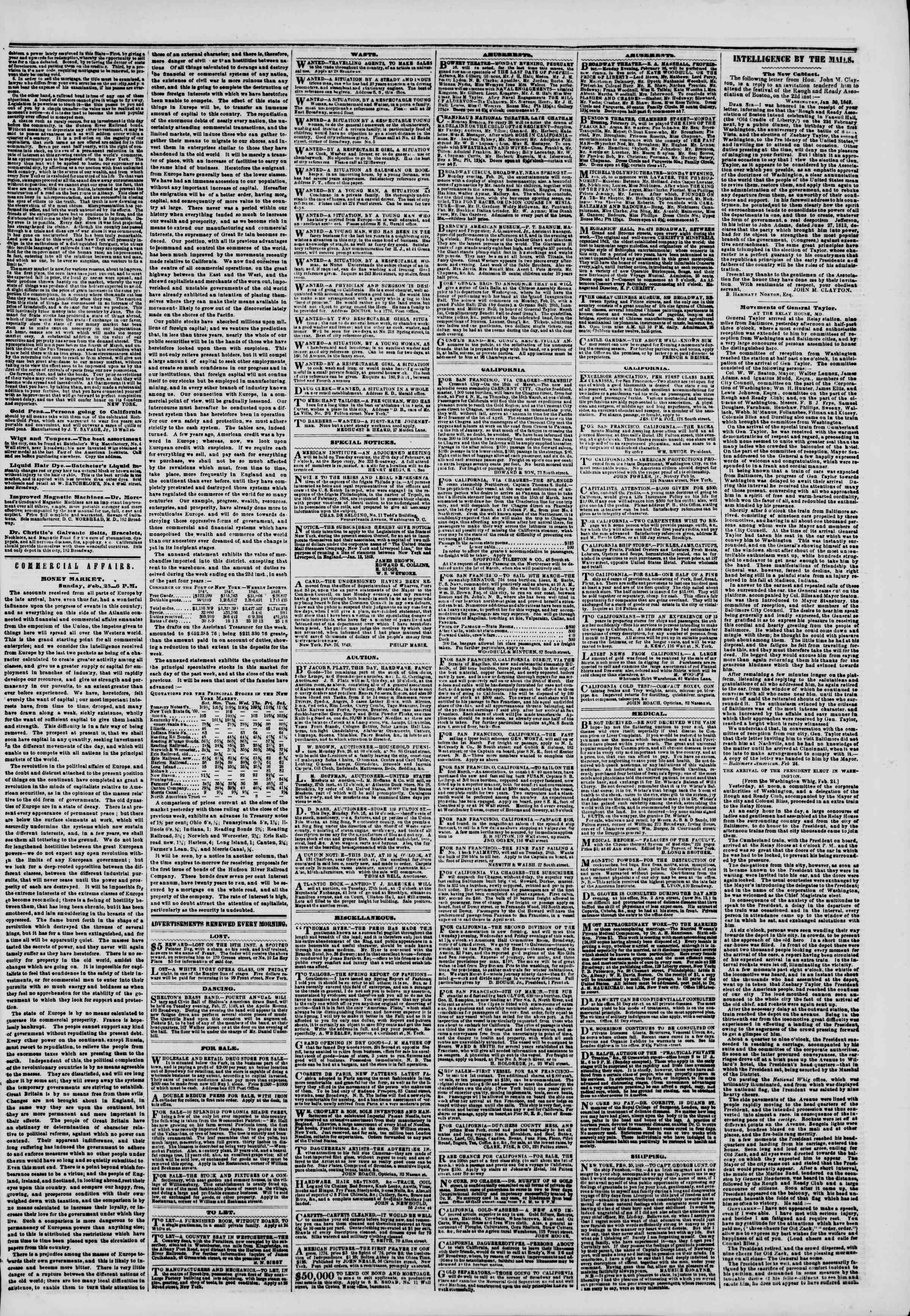 Newspaper of The New York Herald dated February 26, 1849 Page 3