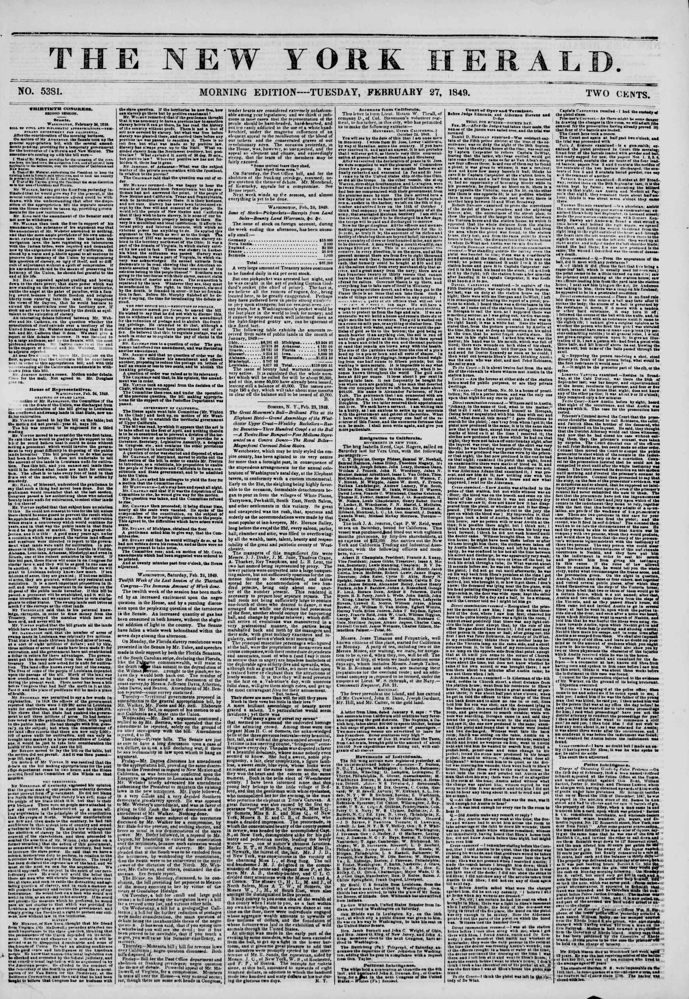 27 Şubat 1849 tarihli The New York Herald Gazetesi Sayfa 1