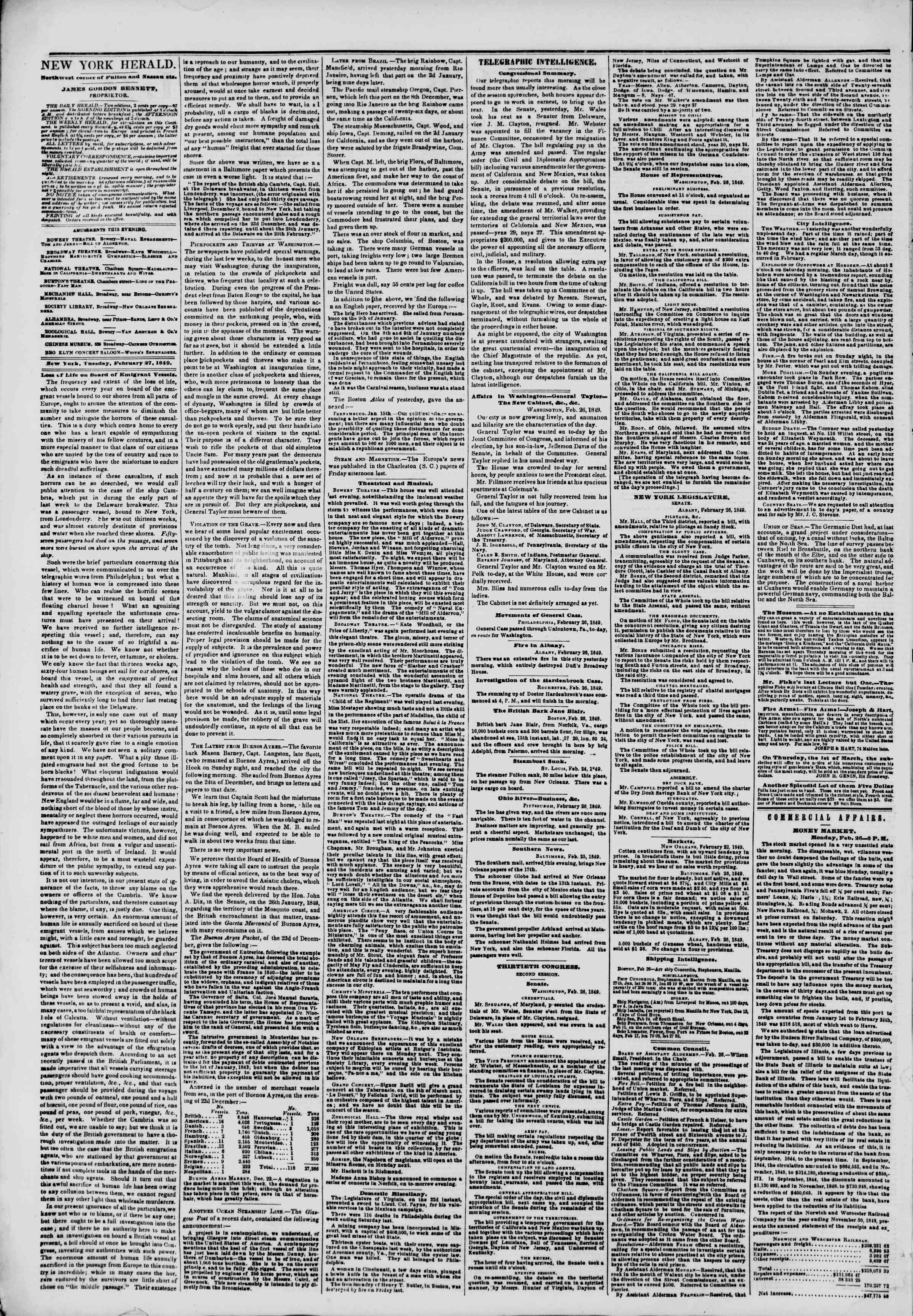 Newspaper of The New York Herald dated February 27, 1849 Page 2