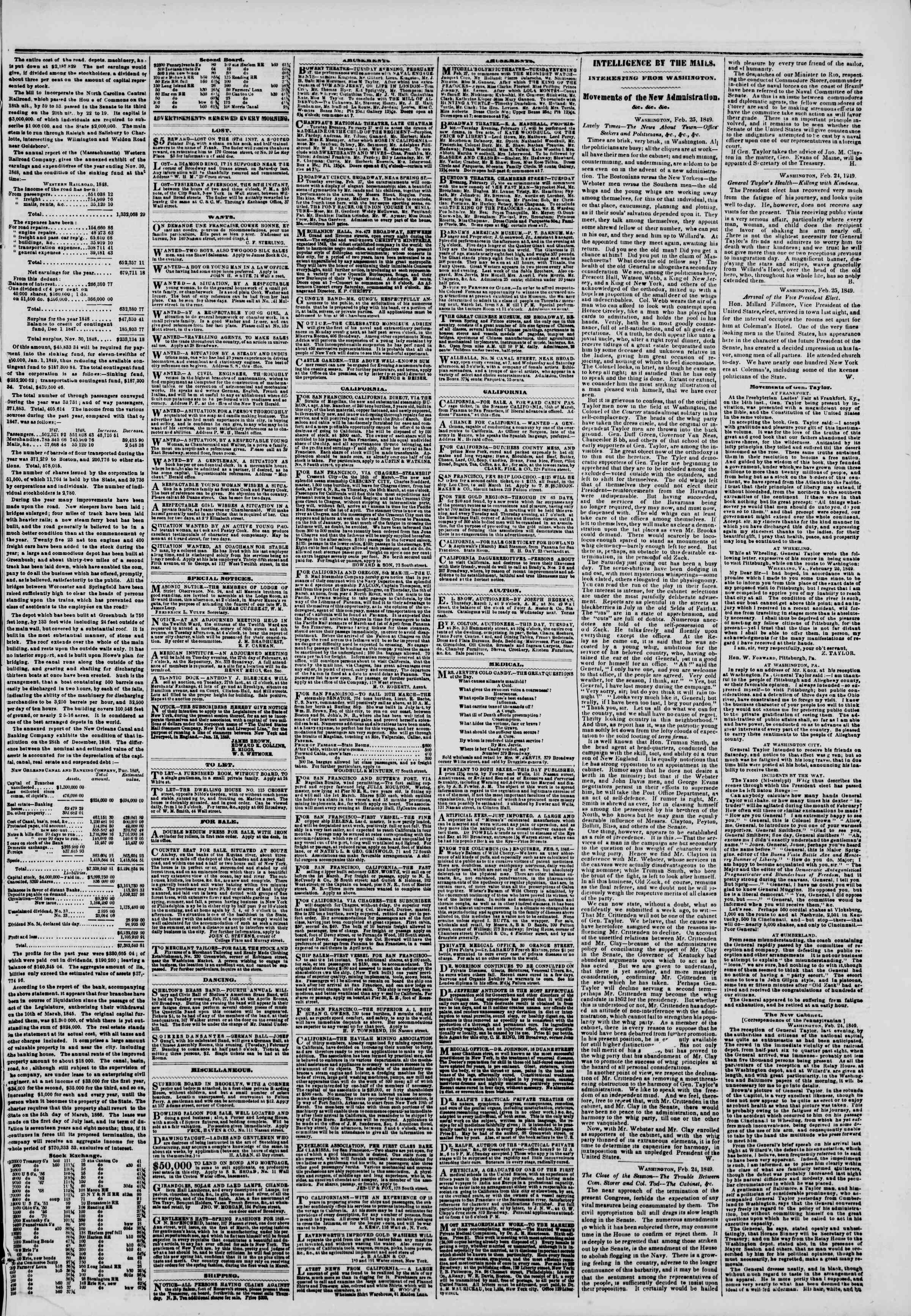Newspaper of The New York Herald dated February 27, 1849 Page 3