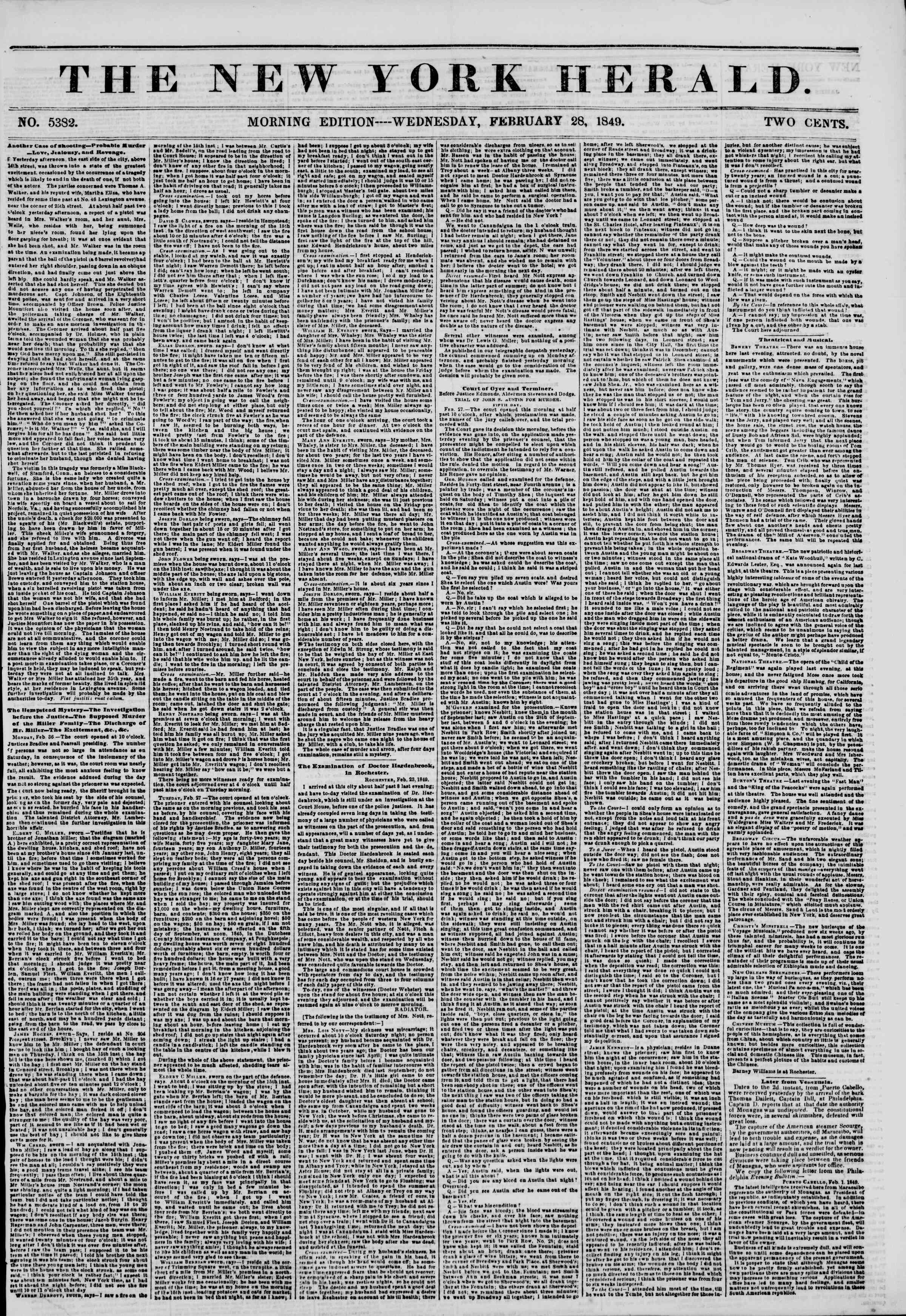 Newspaper of The New York Herald dated February 28, 1849 Page 1