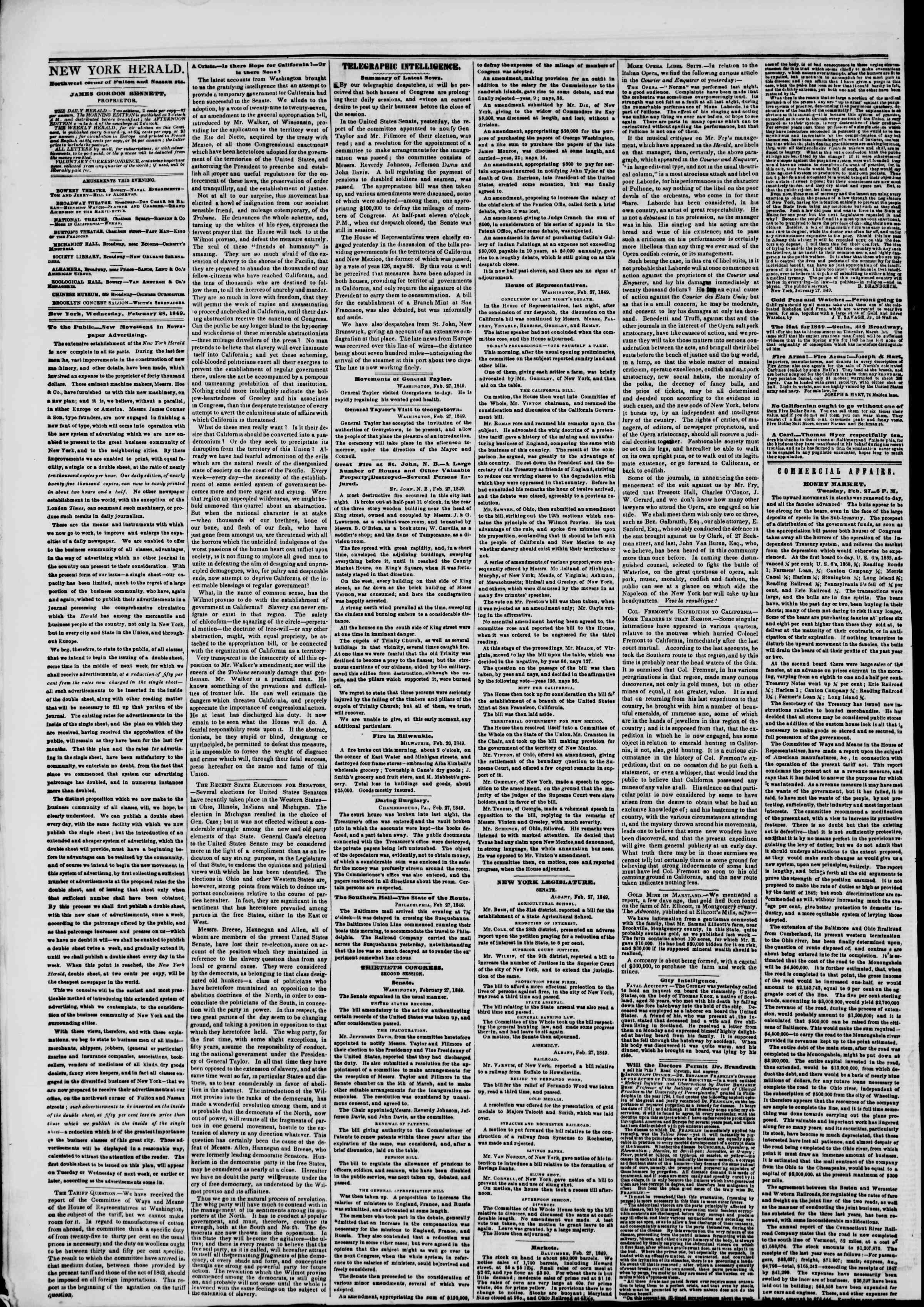 Newspaper of The New York Herald dated February 28, 1849 Page 2