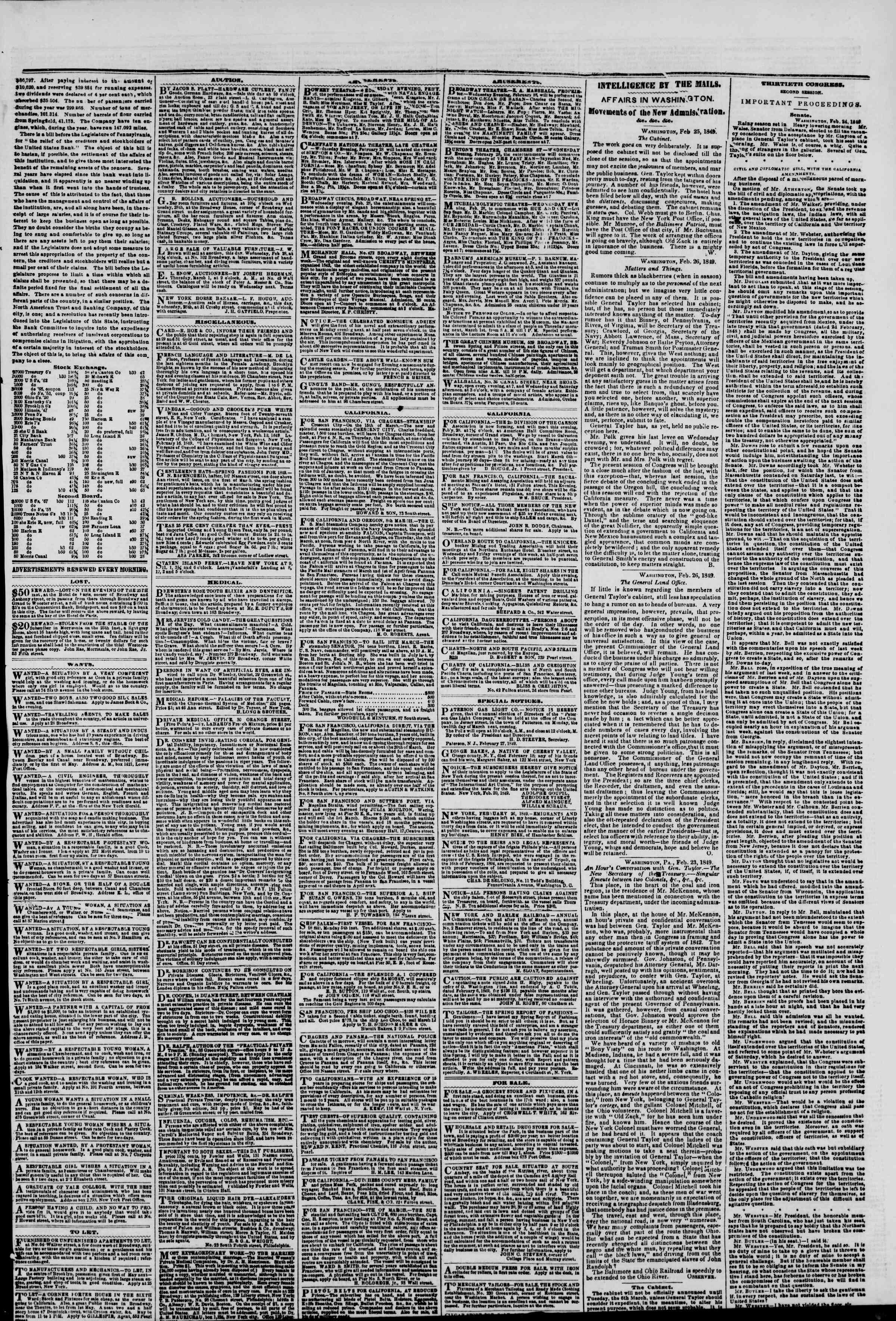 Newspaper of The New York Herald dated February 28, 1849 Page 3