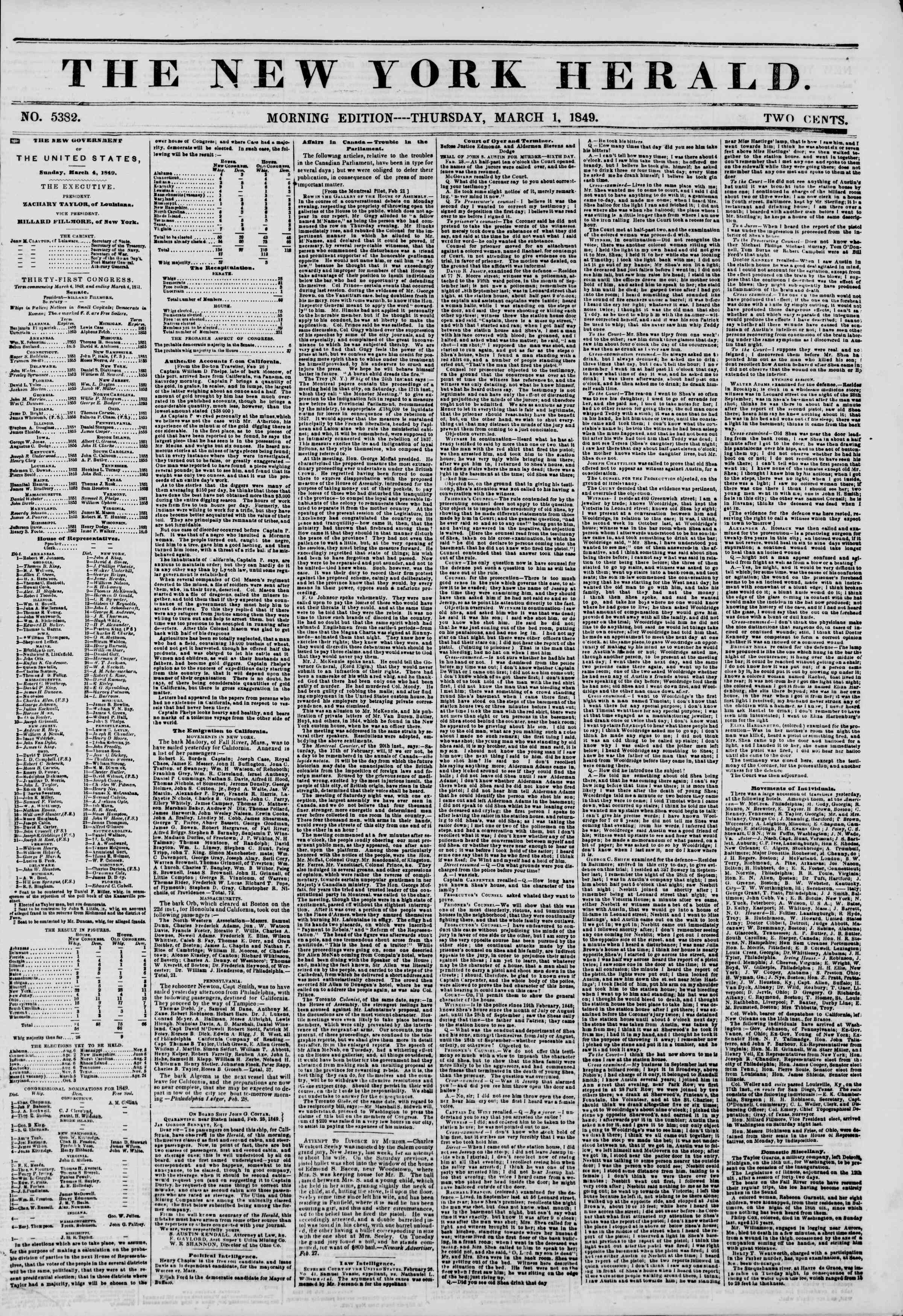 Newspaper of The New York Herald dated March 1, 1849 Page 1