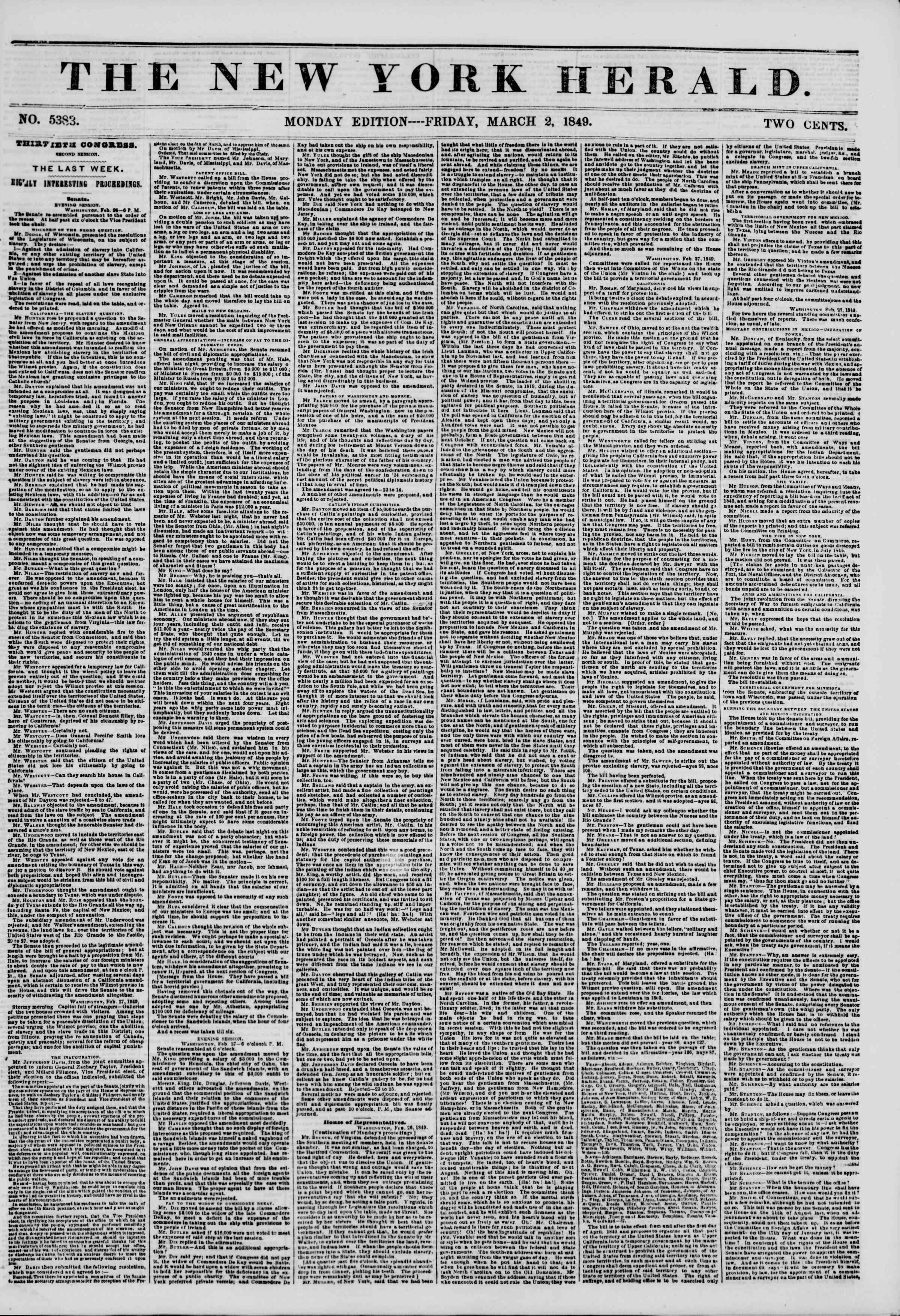 Newspaper of The New York Herald dated 2 Mart 1849 Page 1