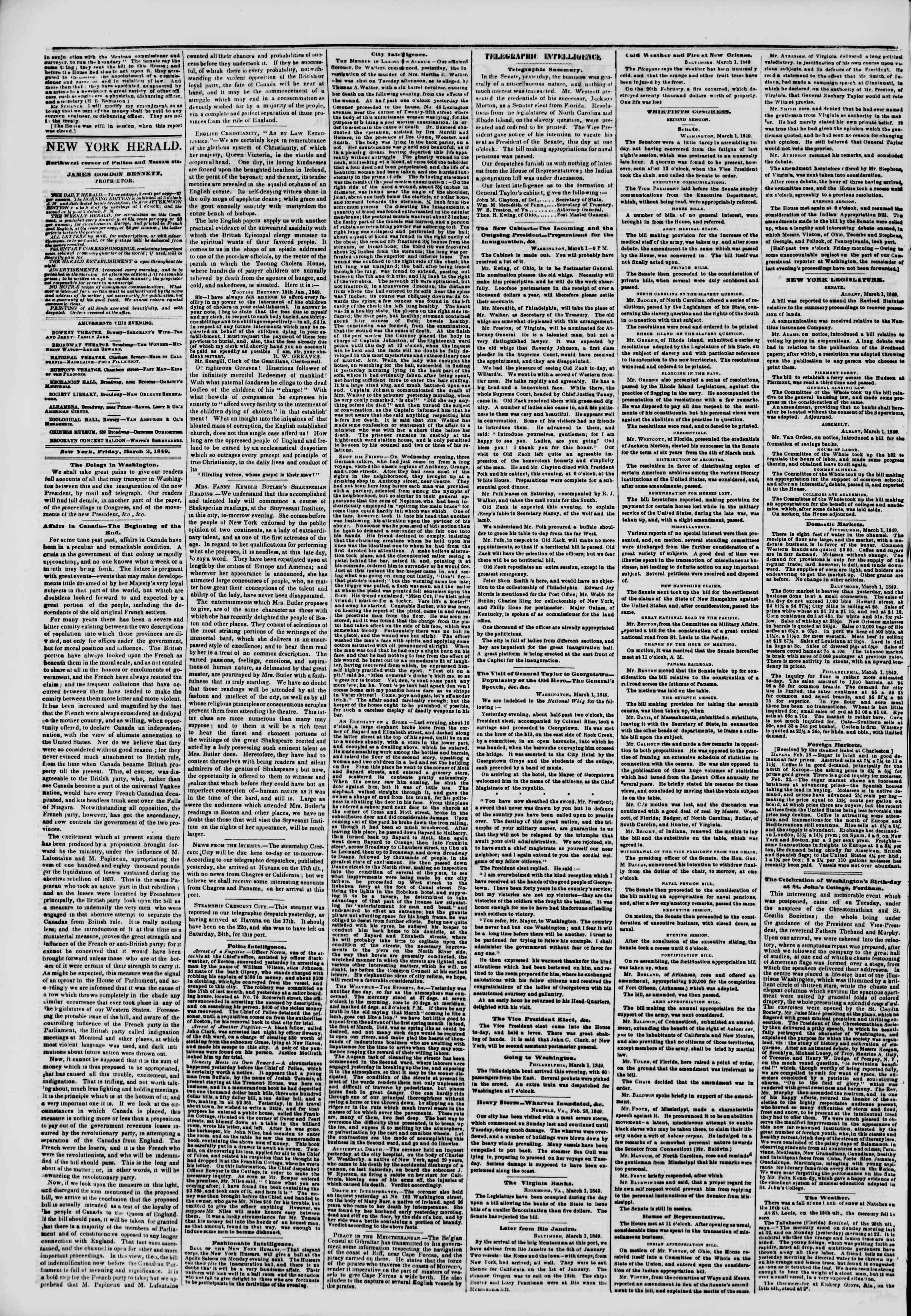 Newspaper of The New York Herald dated March 2, 1849 Page 2