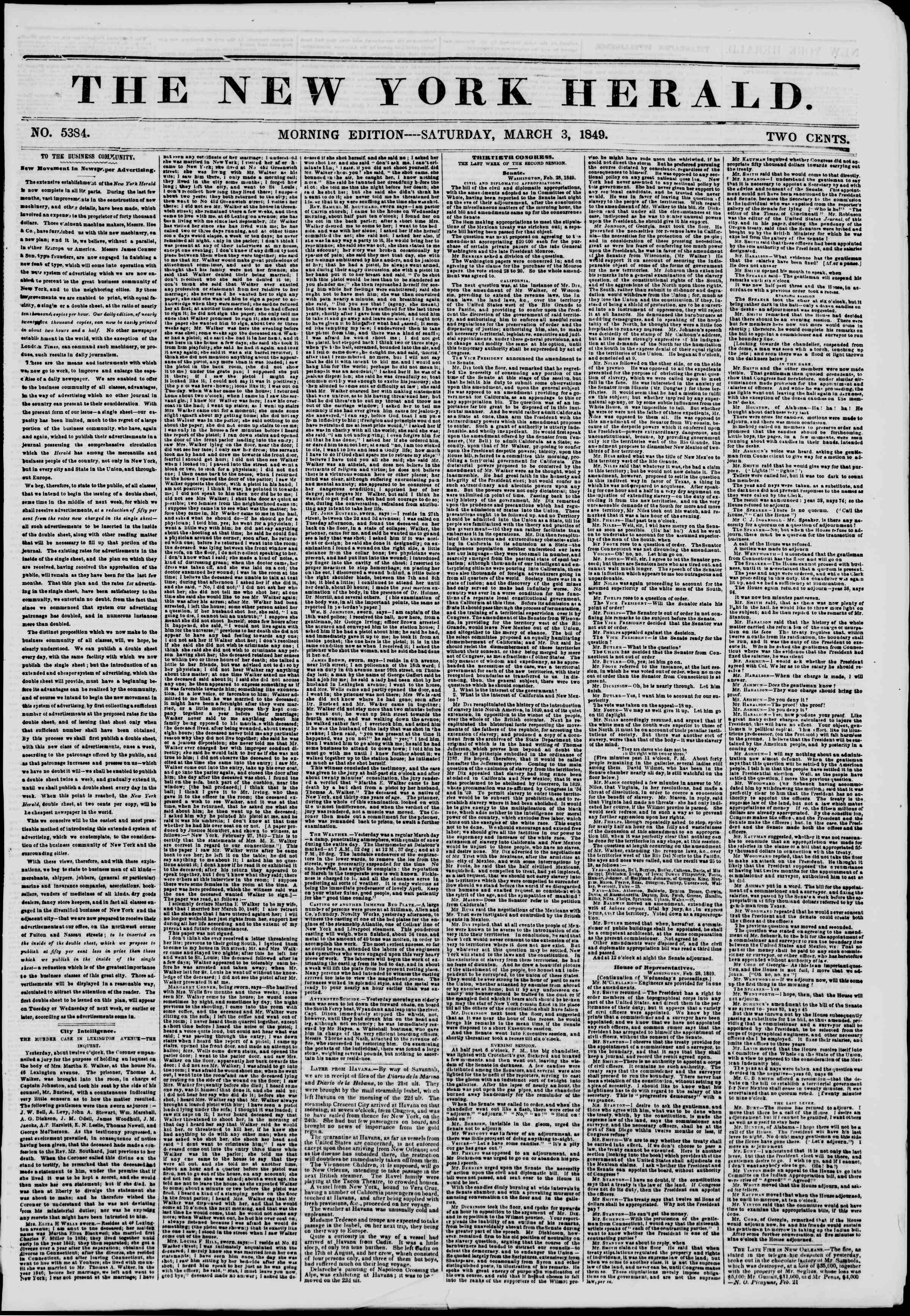 Newspaper of The New York Herald dated March 3, 1849 Page 1