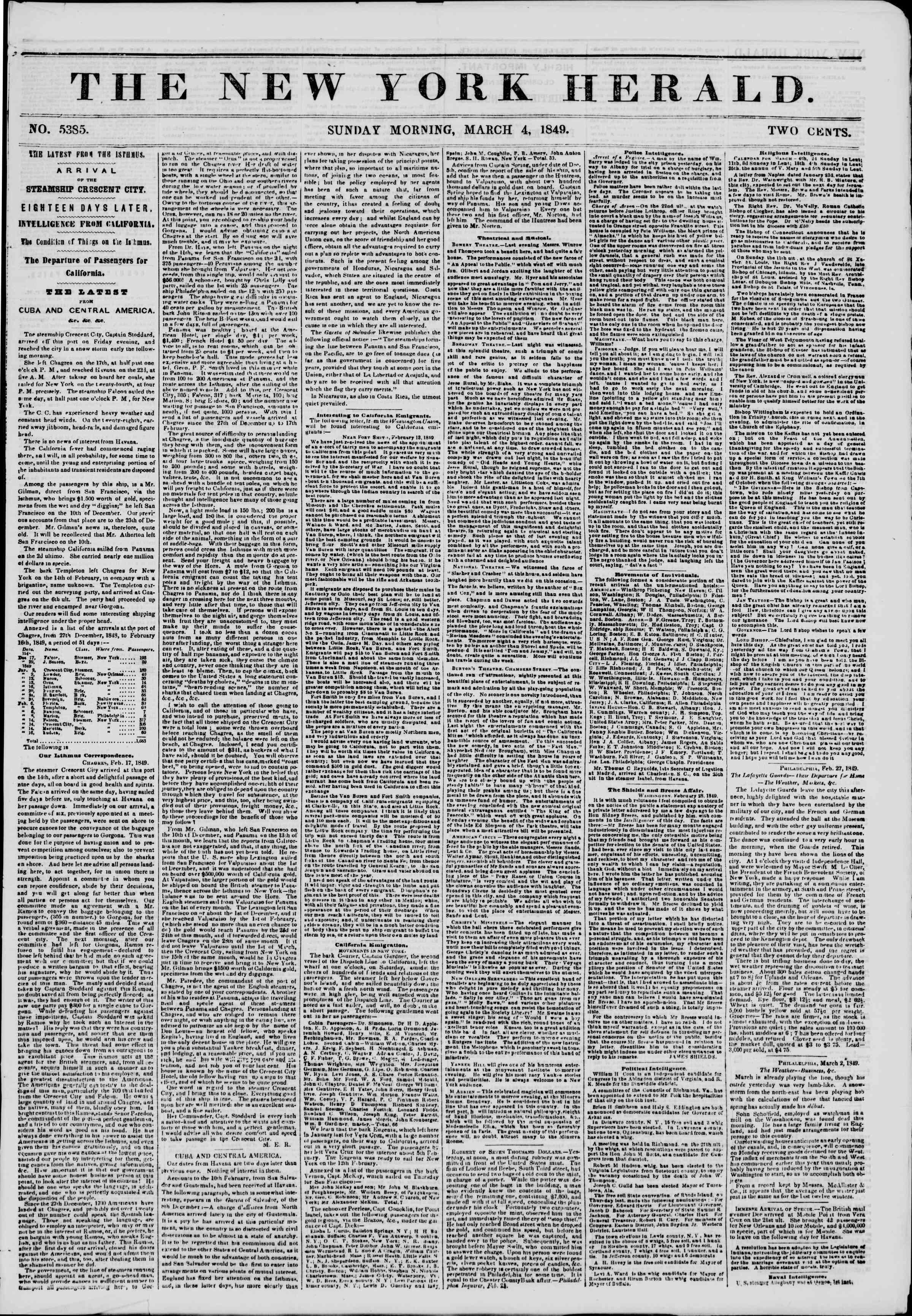 4 Mart 1849 tarihli The New York Herald Gazetesi Sayfa 1