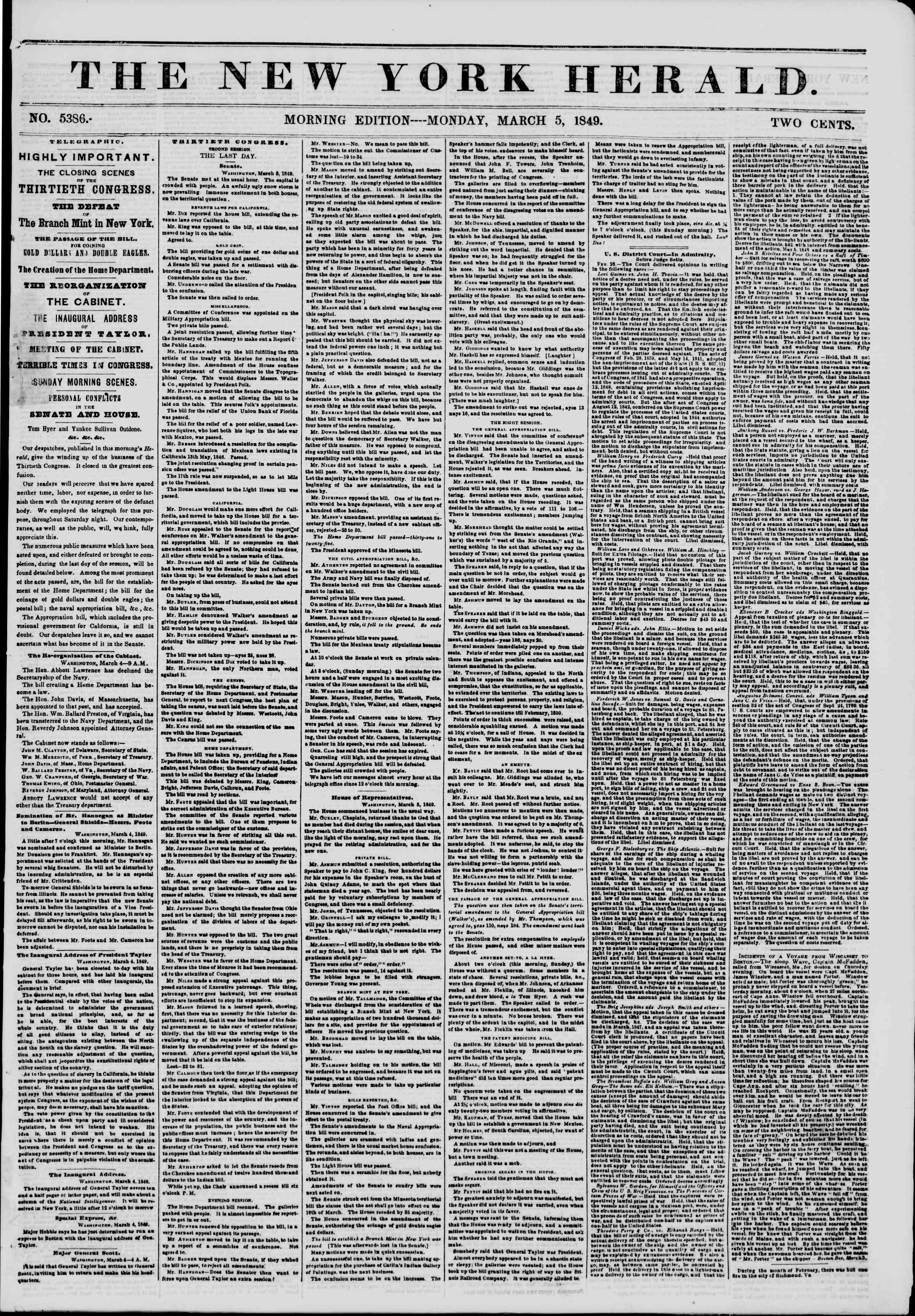 Newspaper of The New York Herald dated March 5, 1849 Page 1