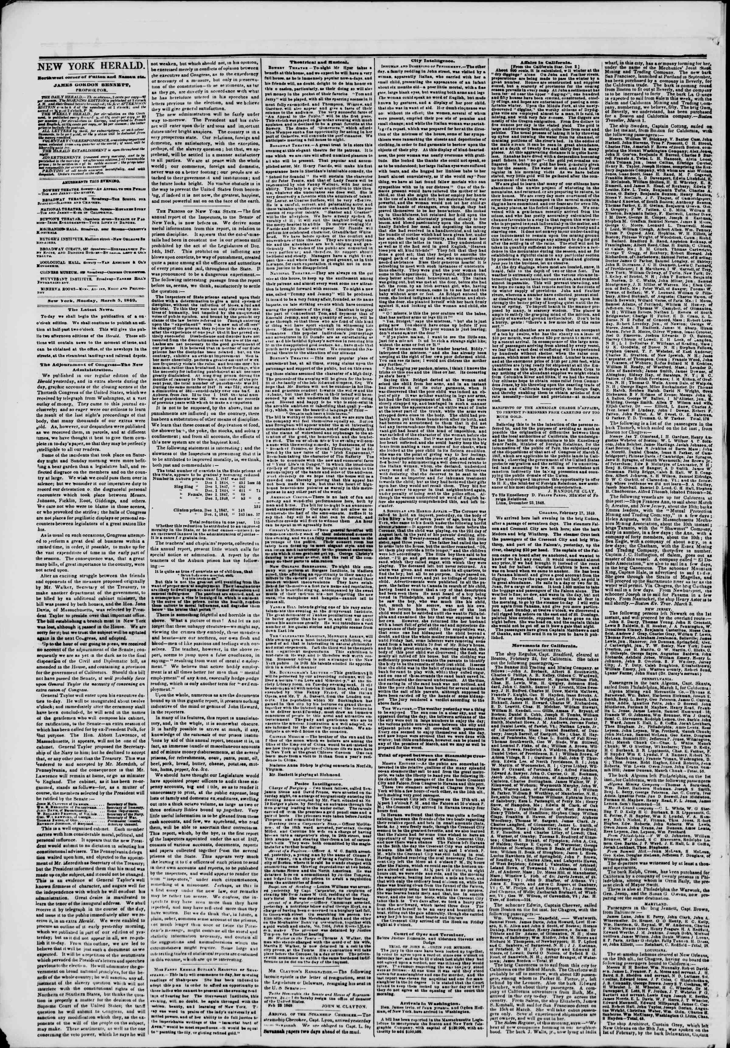 Newspaper of The New York Herald dated March 5, 1849 Page 2