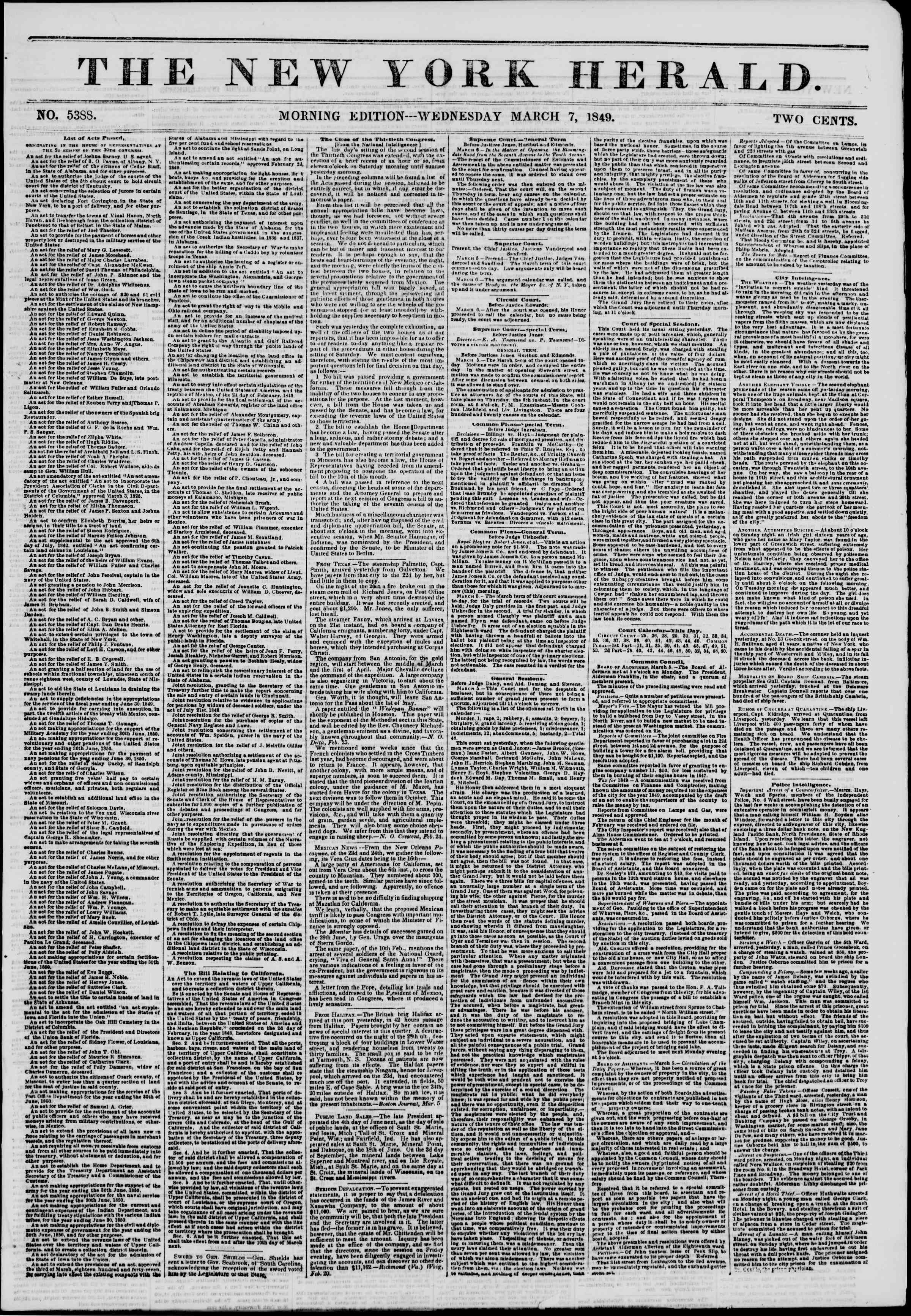 Newspaper of The New York Herald dated March 7, 1849 Page 1