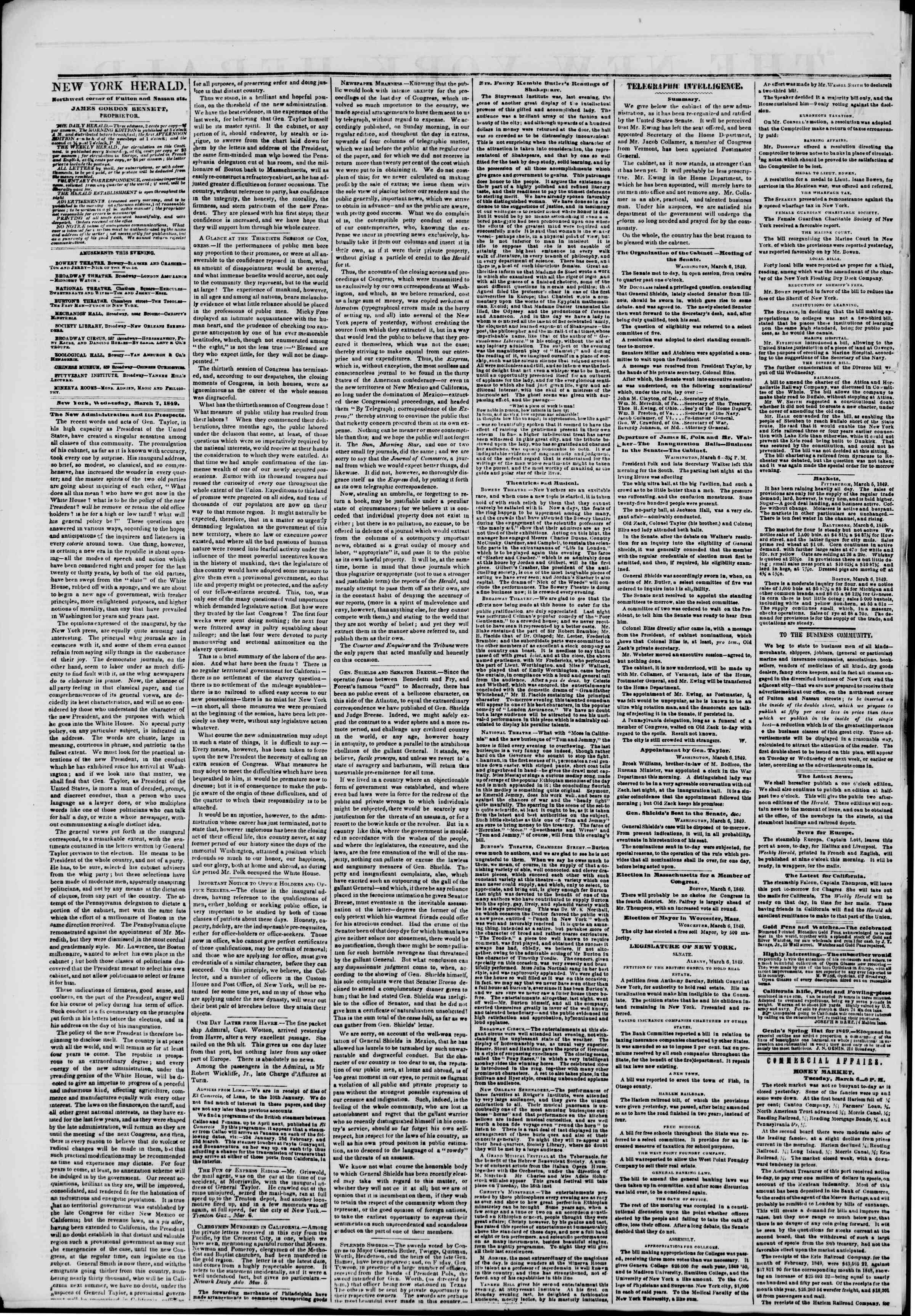 Newspaper of The New York Herald dated March 7, 1849 Page 2