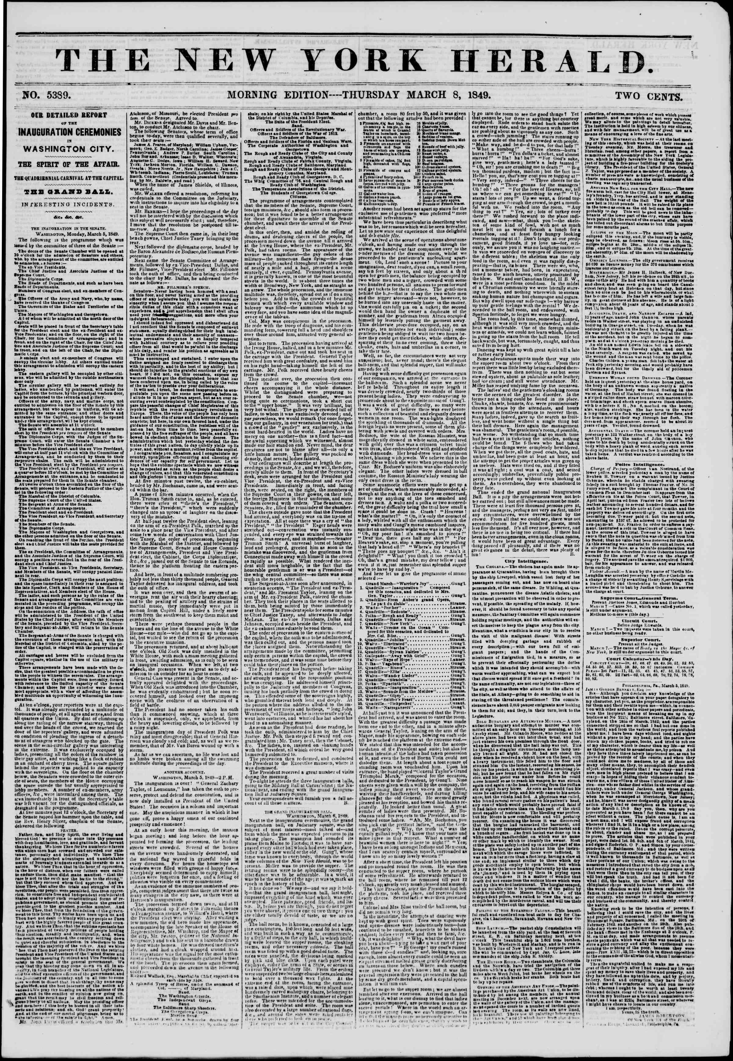 Newspaper of The New York Herald dated March 8, 1849 Page 1