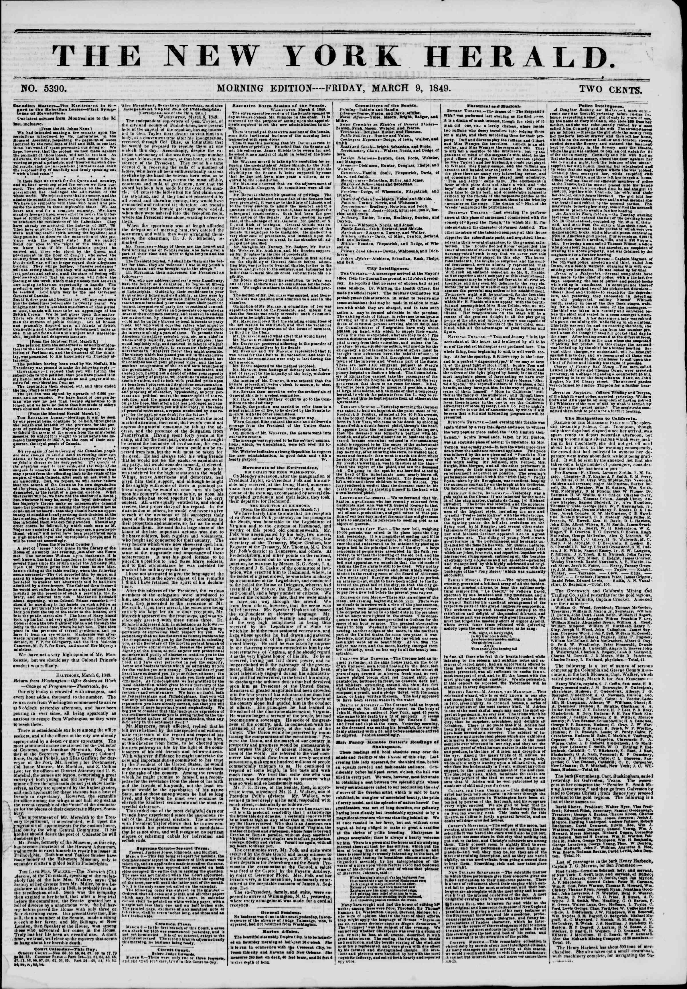 Newspaper of The New York Herald dated March 9, 1849 Page 1