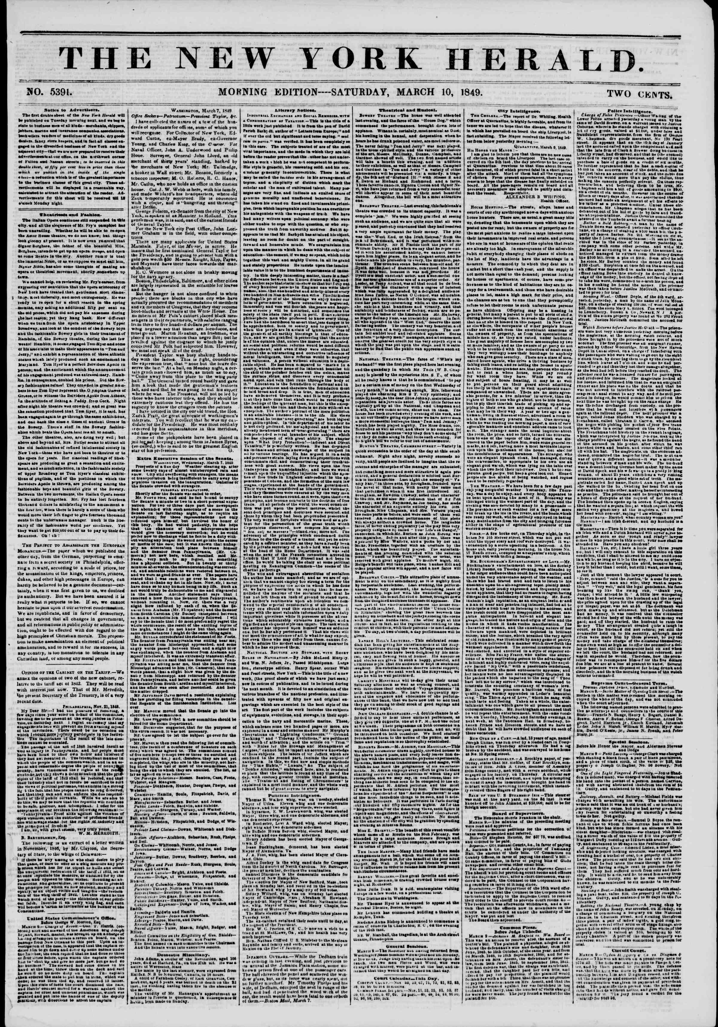 10 Mart 1849 tarihli The New York Herald Gazetesi Sayfa 1