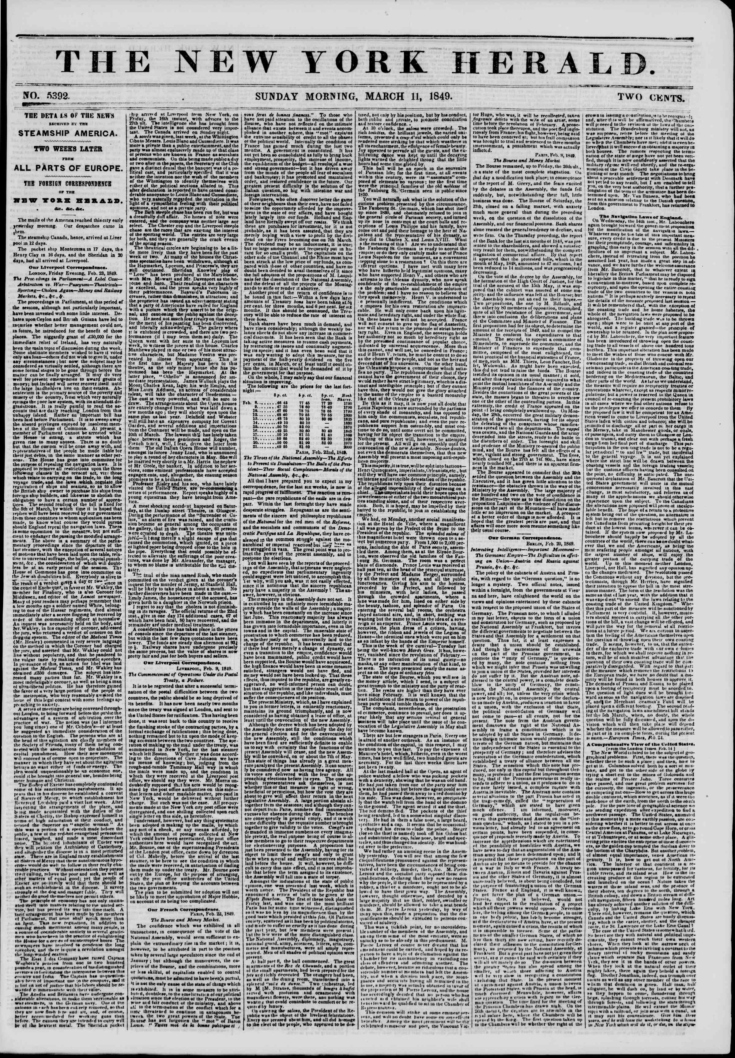 Newspaper of The New York Herald dated March 11, 1849 Page 1