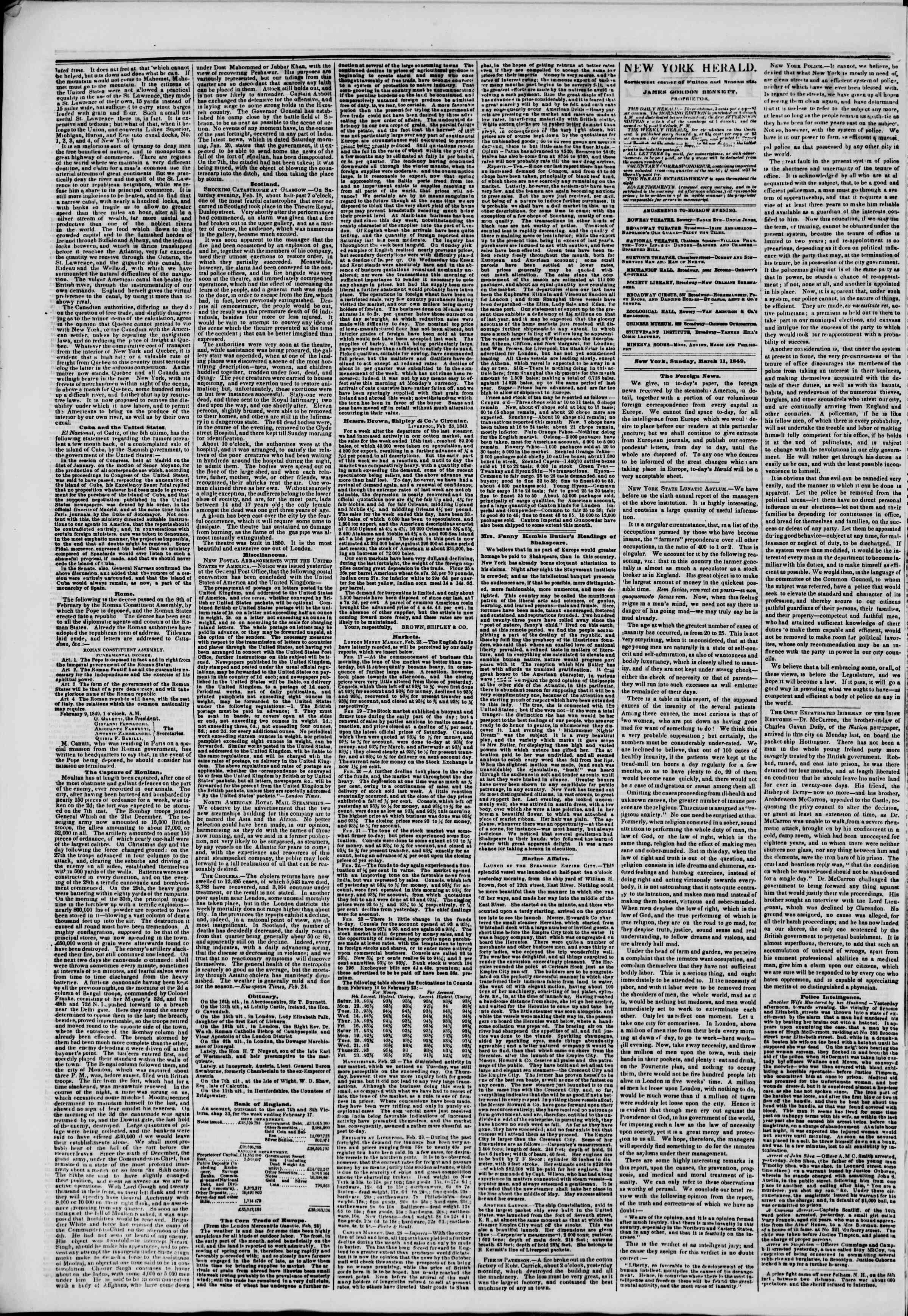 Newspaper of The New York Herald dated March 11, 1849 Page 2