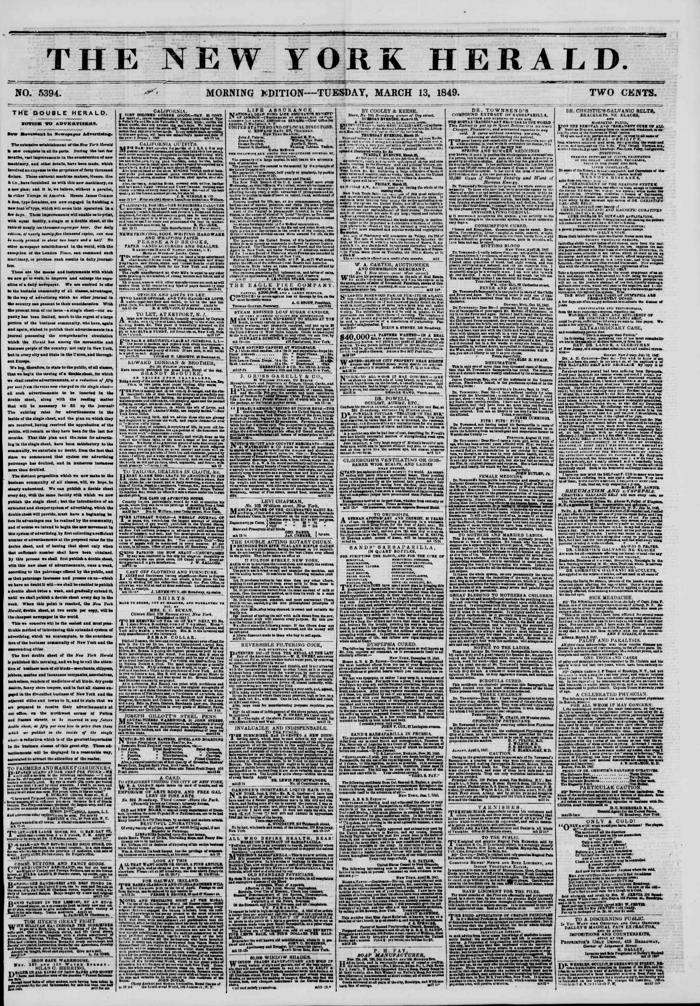 Newspaper of The New York Herald dated March 13, 1849 Page 1