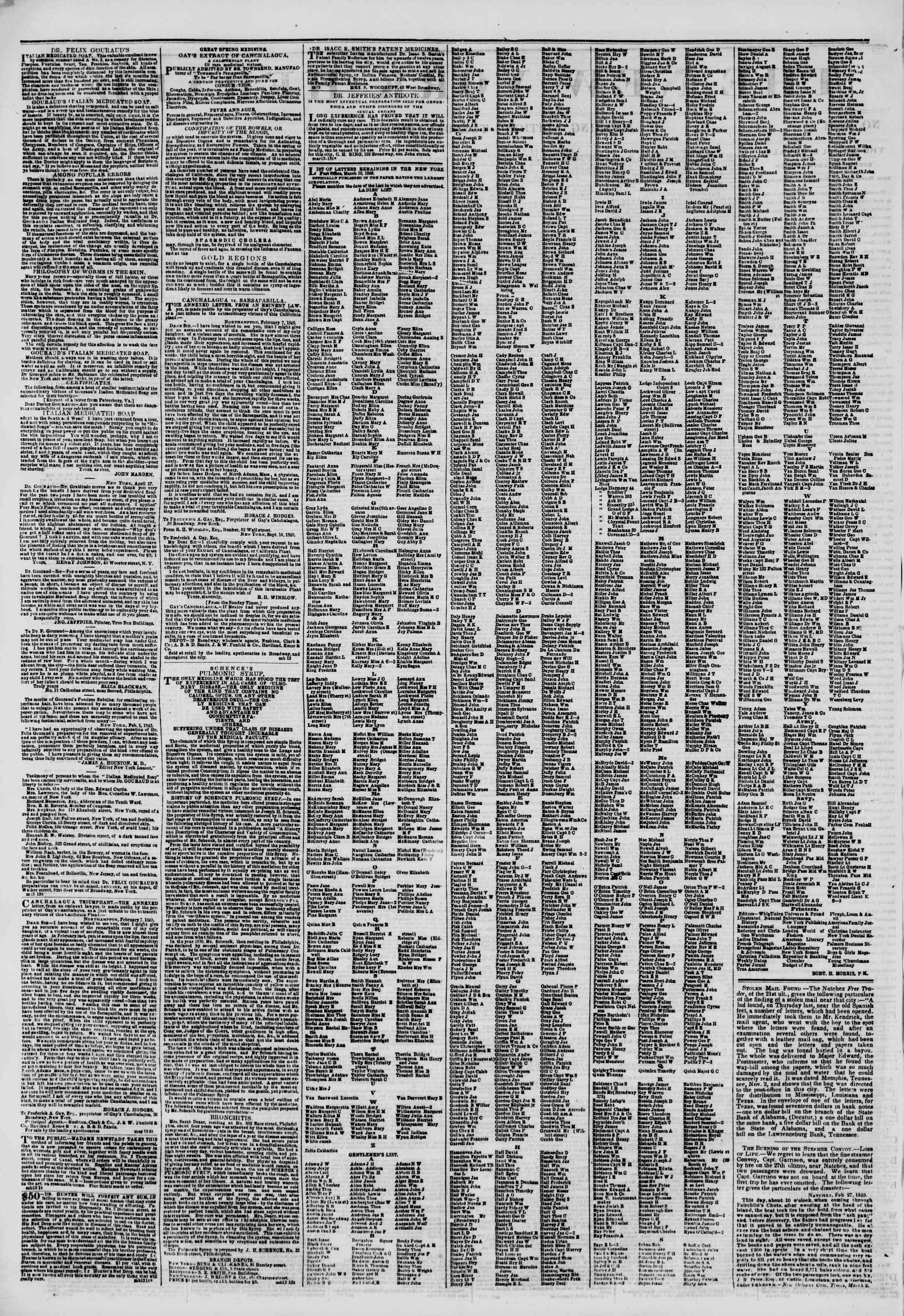 Newspaper of The New York Herald dated March 13, 1849 Page 2