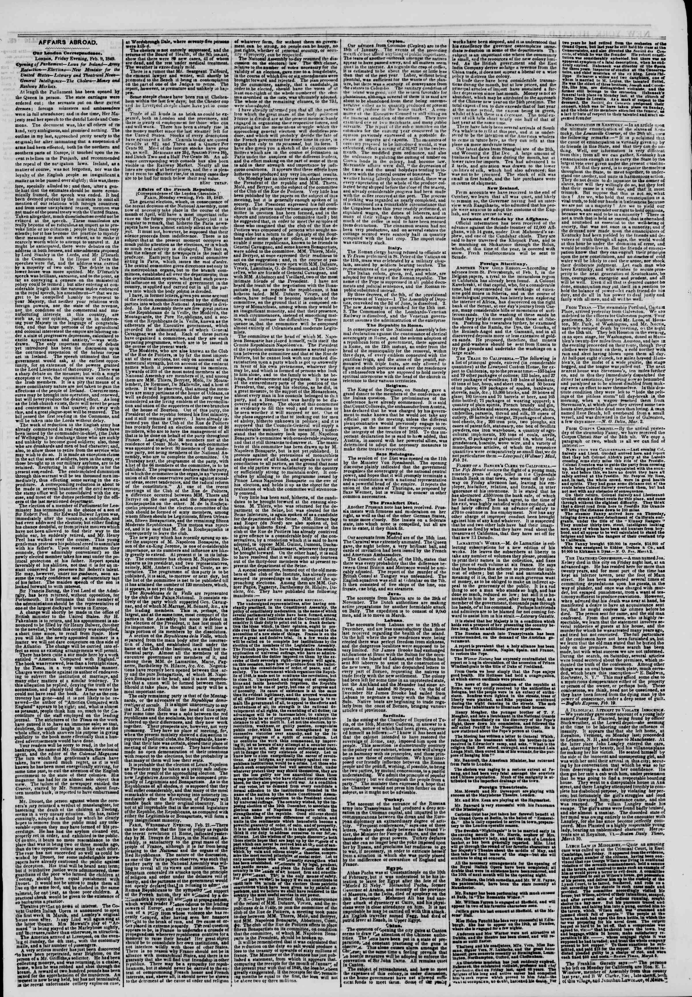 Newspaper of The New York Herald dated March 13, 1849 Page 3