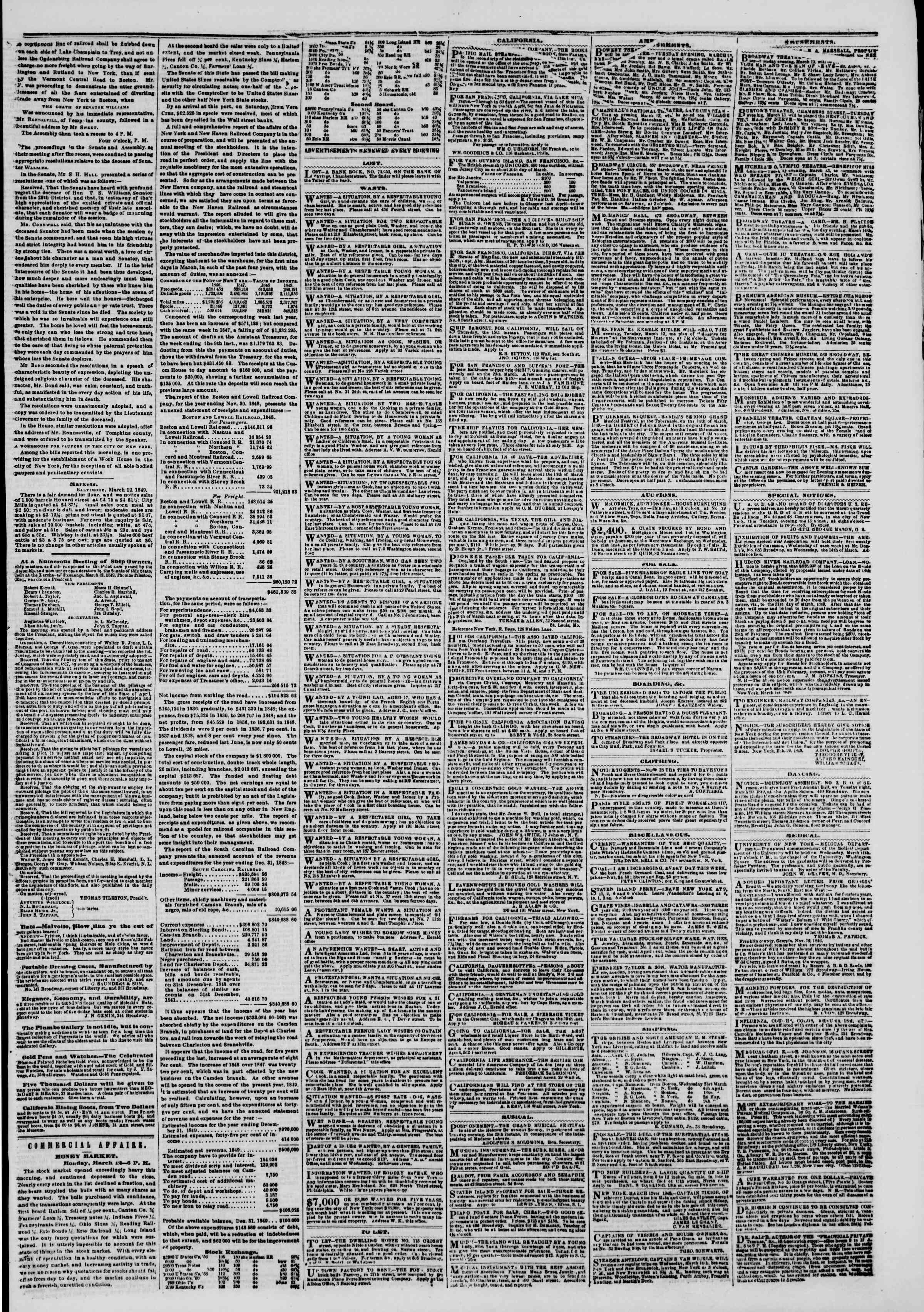 Newspaper of The New York Herald dated March 13, 1849 Page 5