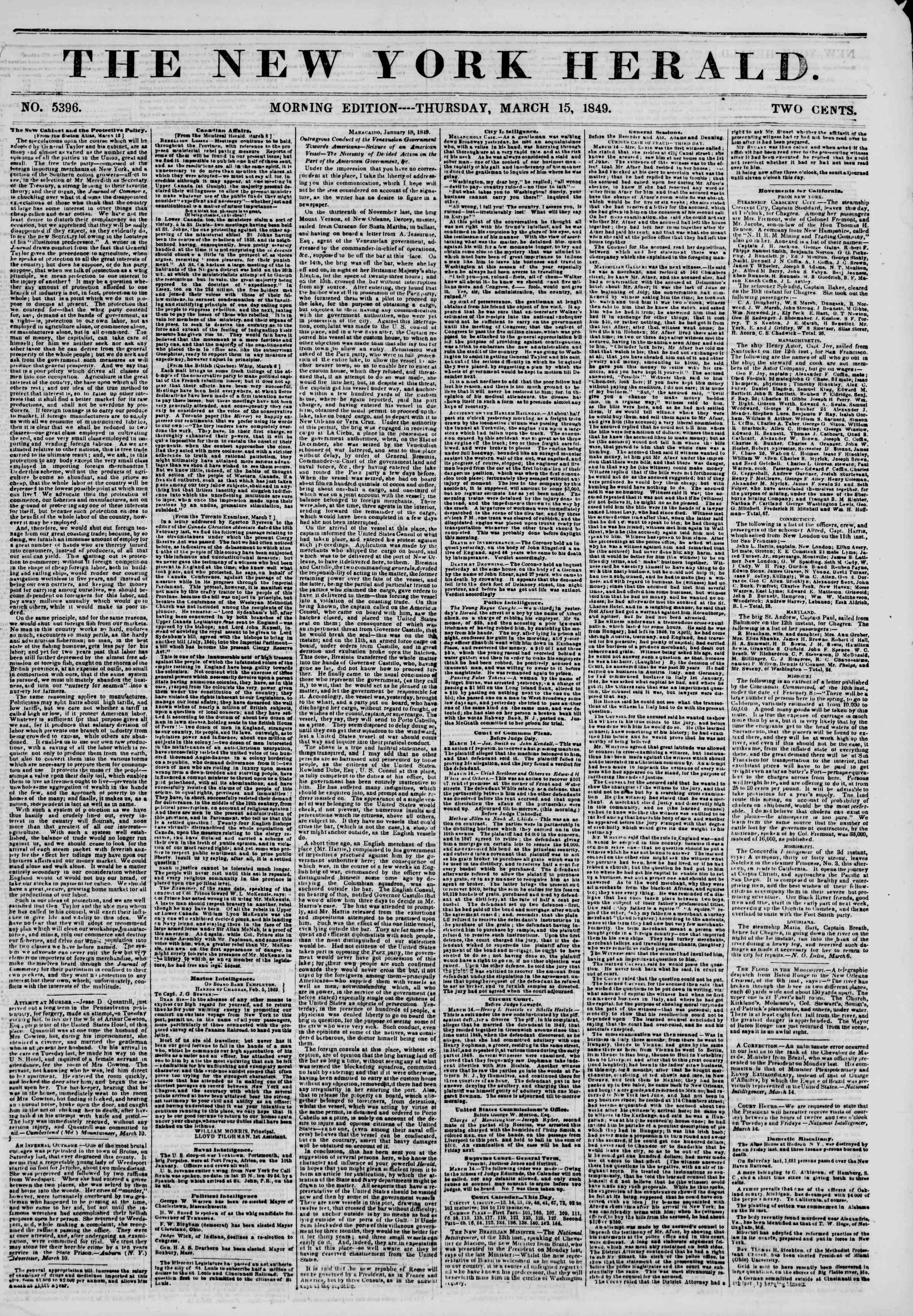 Newspaper of The New York Herald dated March 15, 1849 Page 1