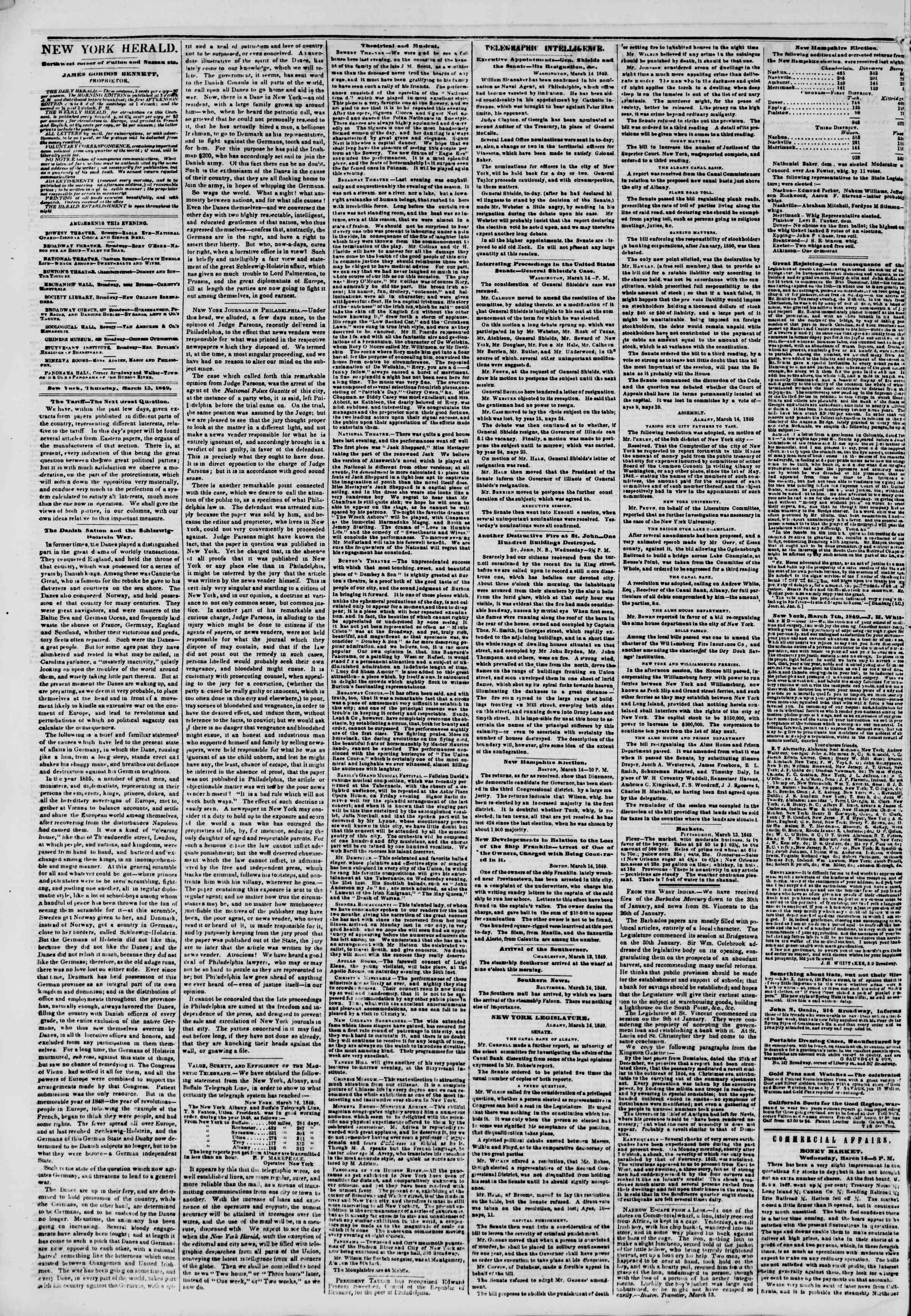 Newspaper of The New York Herald dated March 15, 1849 Page 2
