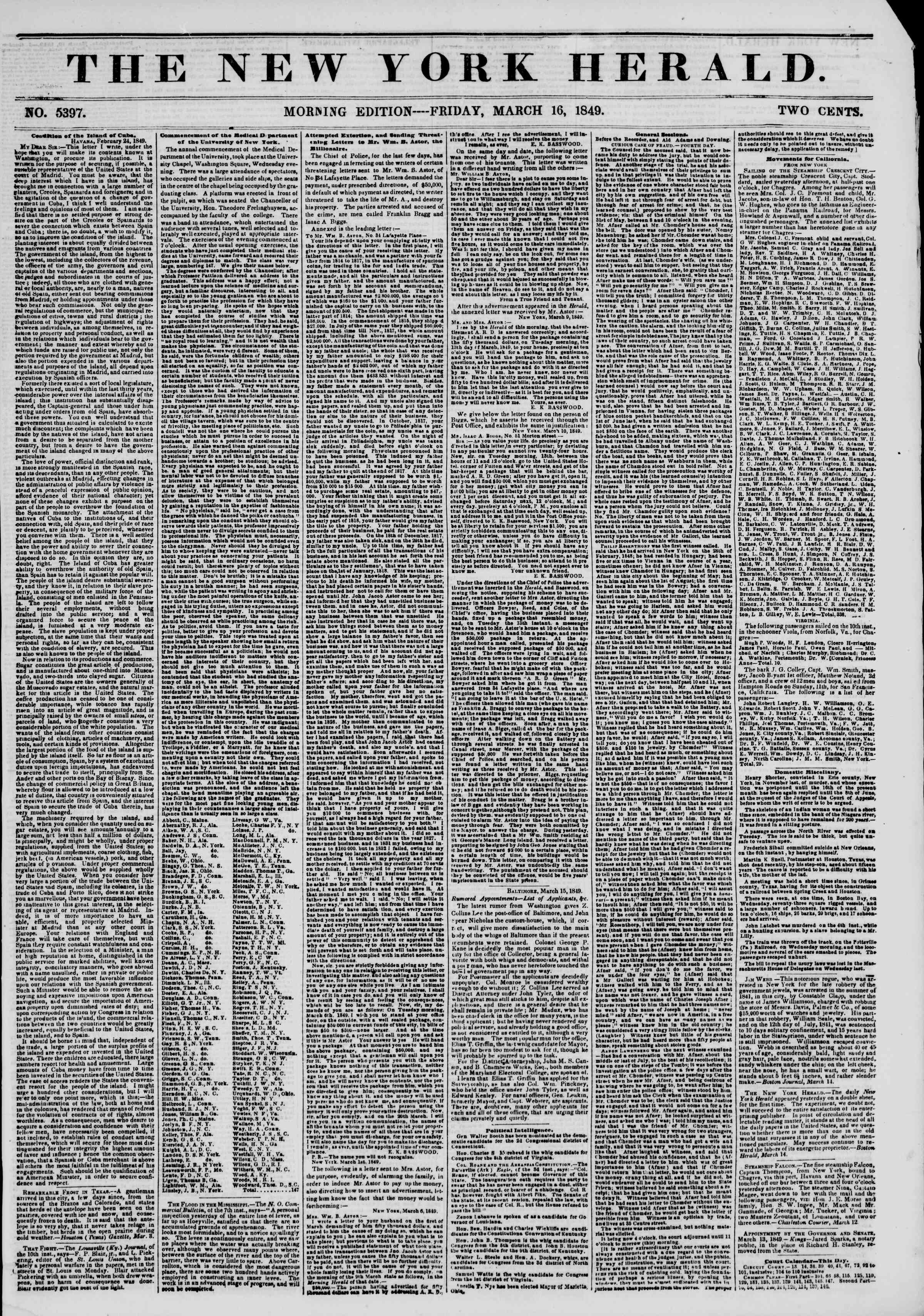 Newspaper of The New York Herald dated March 16, 1849 Page 1
