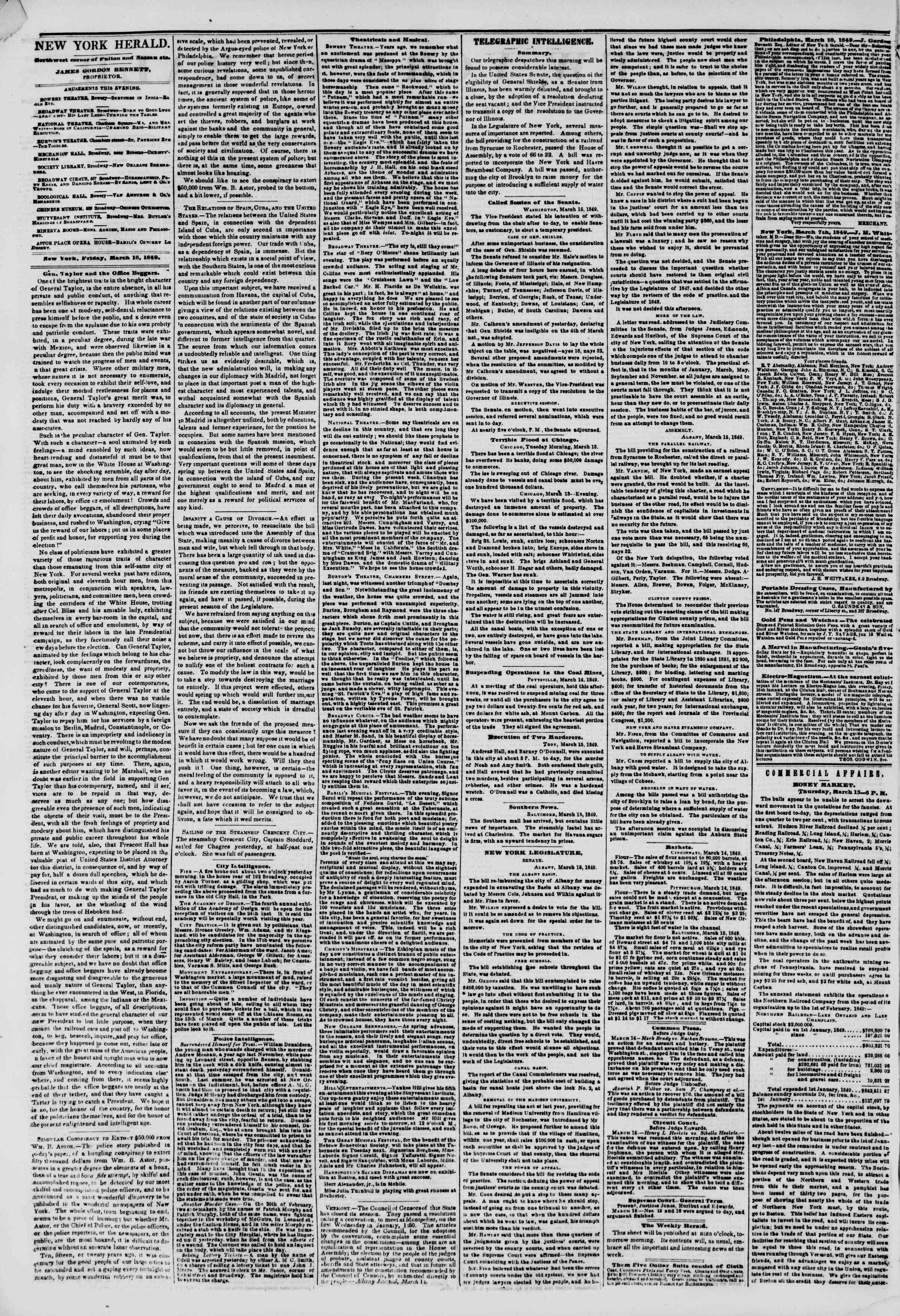 Newspaper of The New York Herald dated March 16, 1849 Page 2