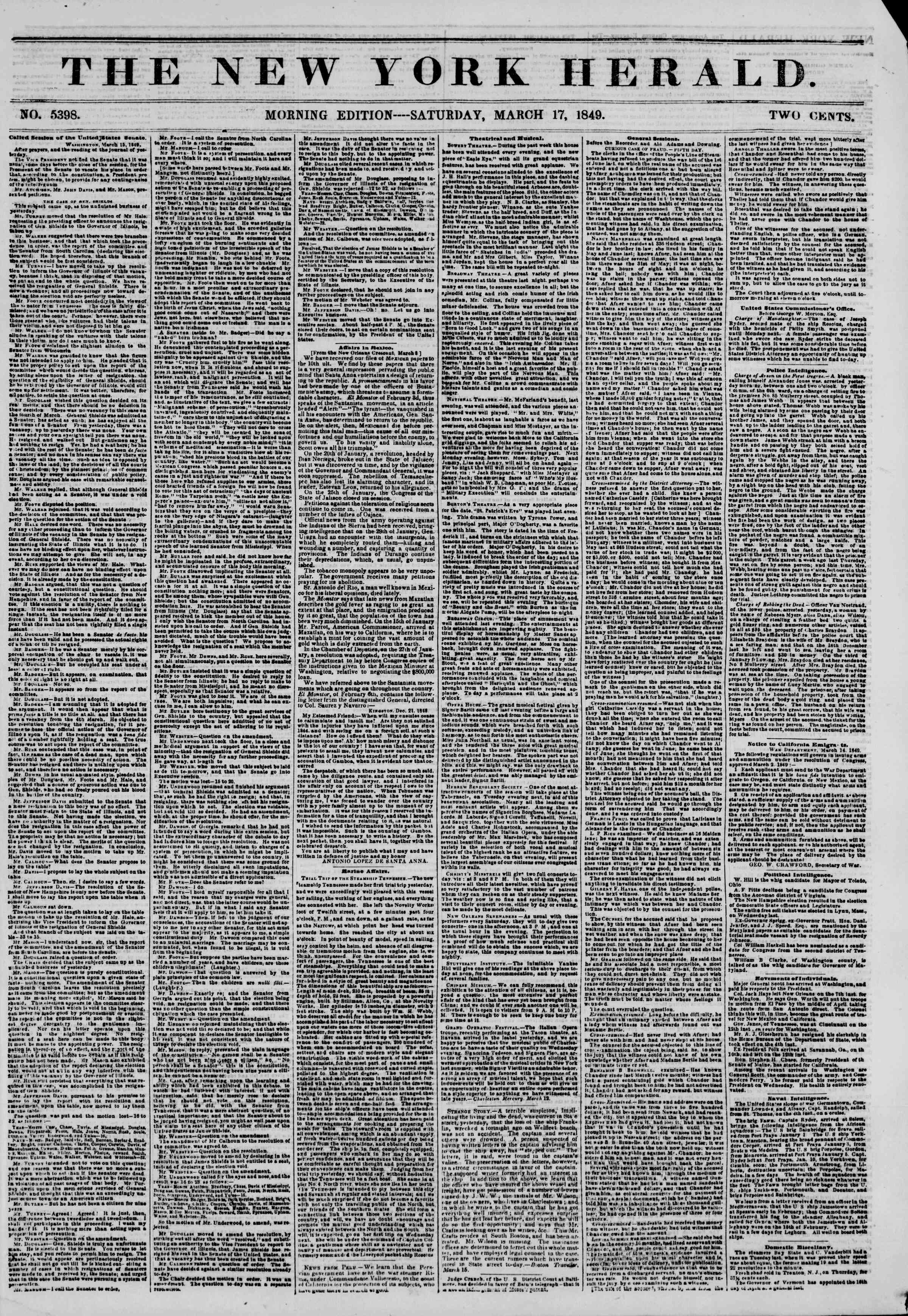 Newspaper of The New York Herald dated 17 Mart 1849 Page 1