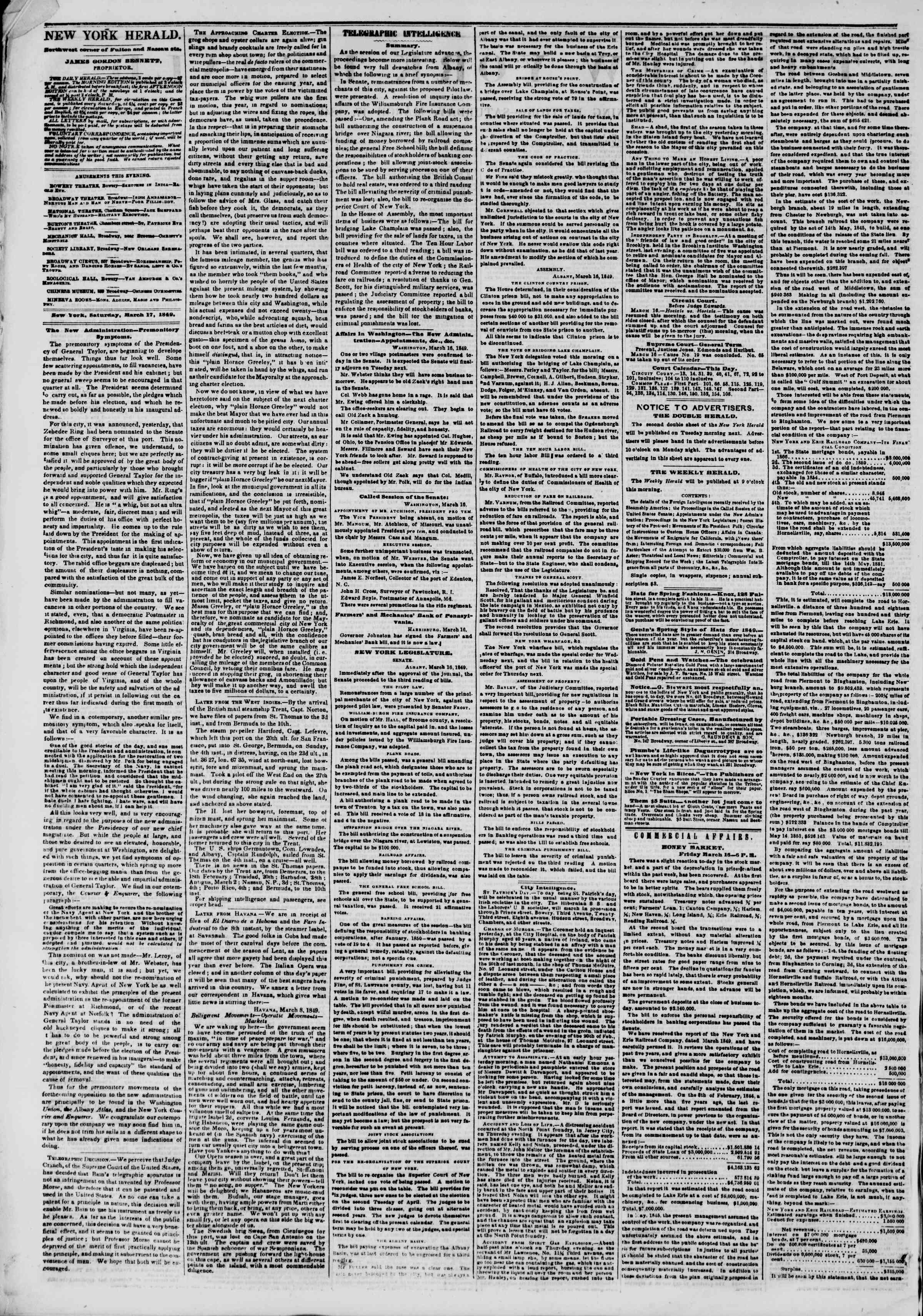 Newspaper of The New York Herald dated March 17, 1849 Page 2