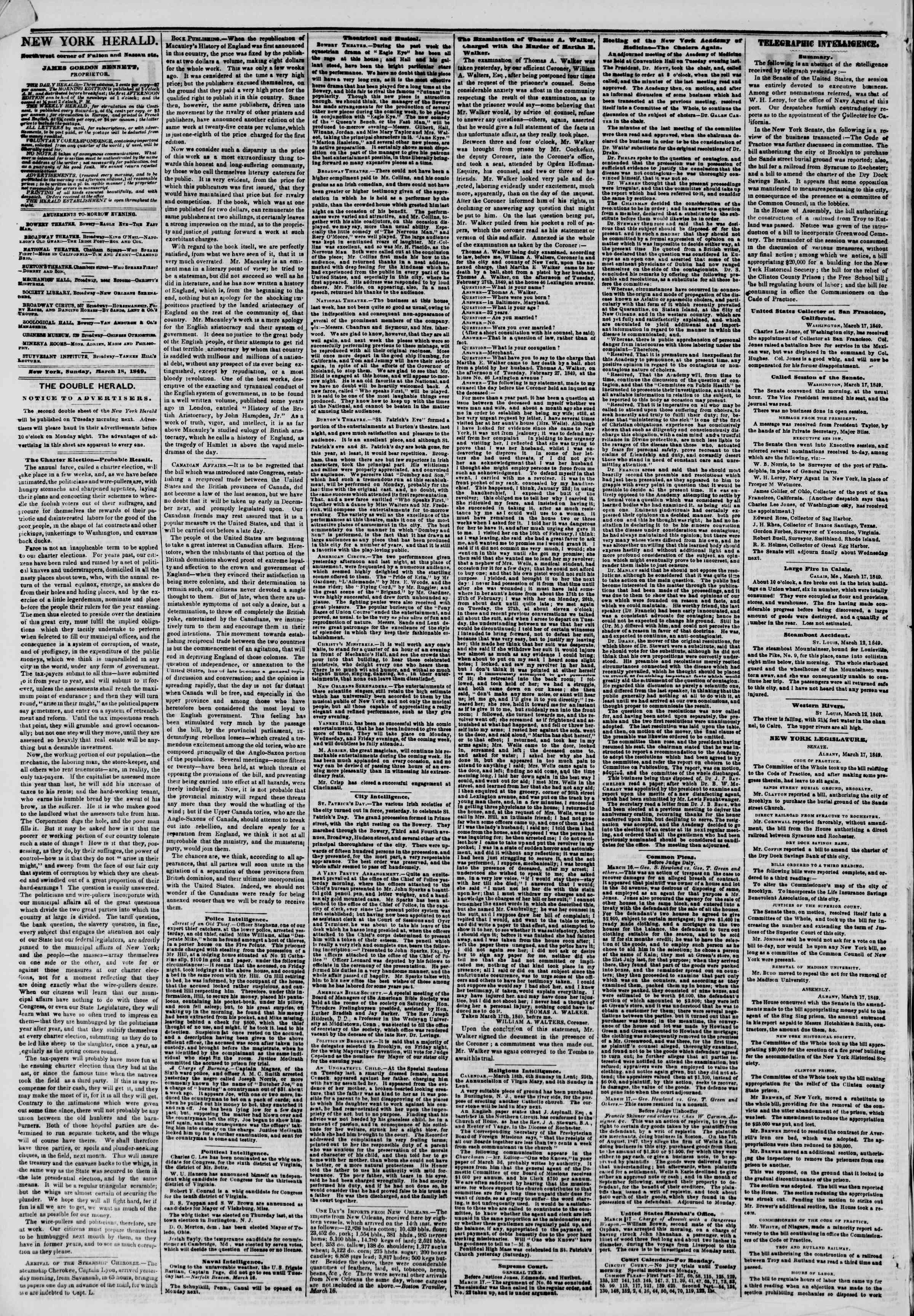 Newspaper of The New York Herald dated March 18, 1849 Page 2