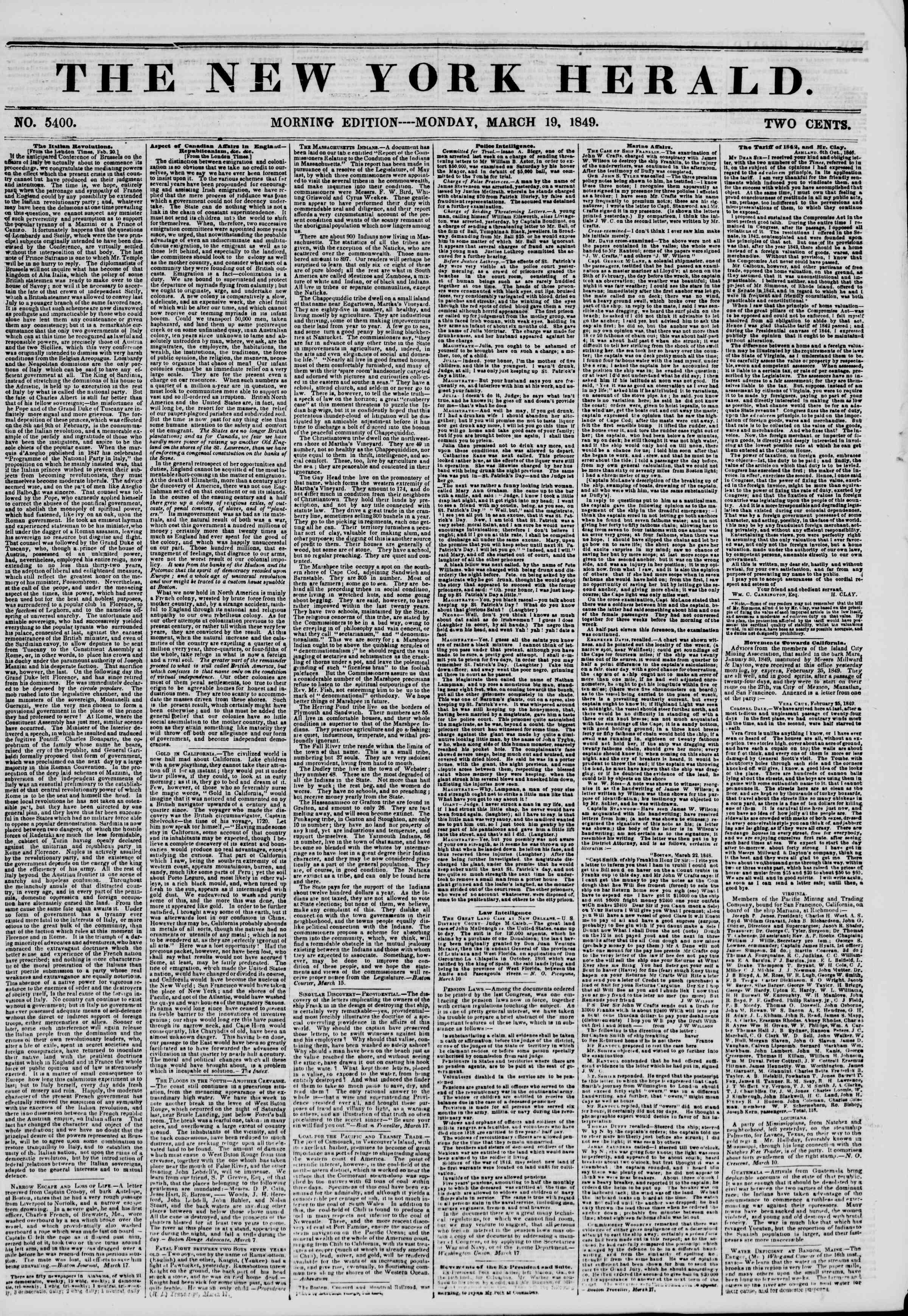 Newspaper of The New York Herald dated March 19, 1849 Page 1