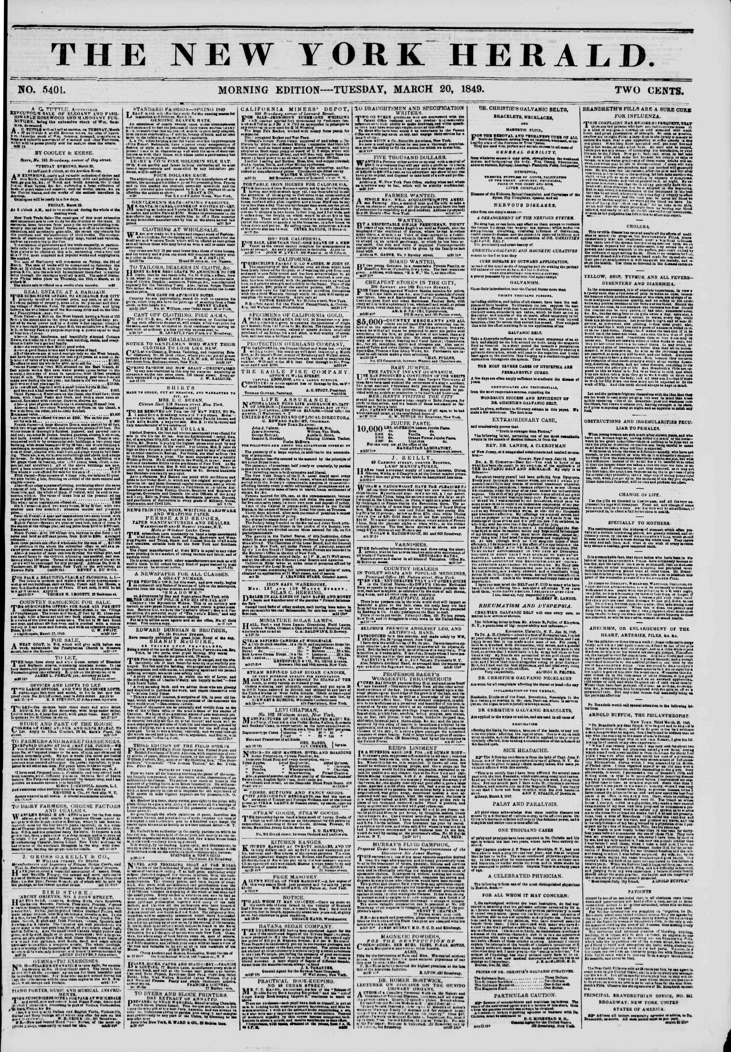 Newspaper of The New York Herald dated March 20, 1849 Page 1
