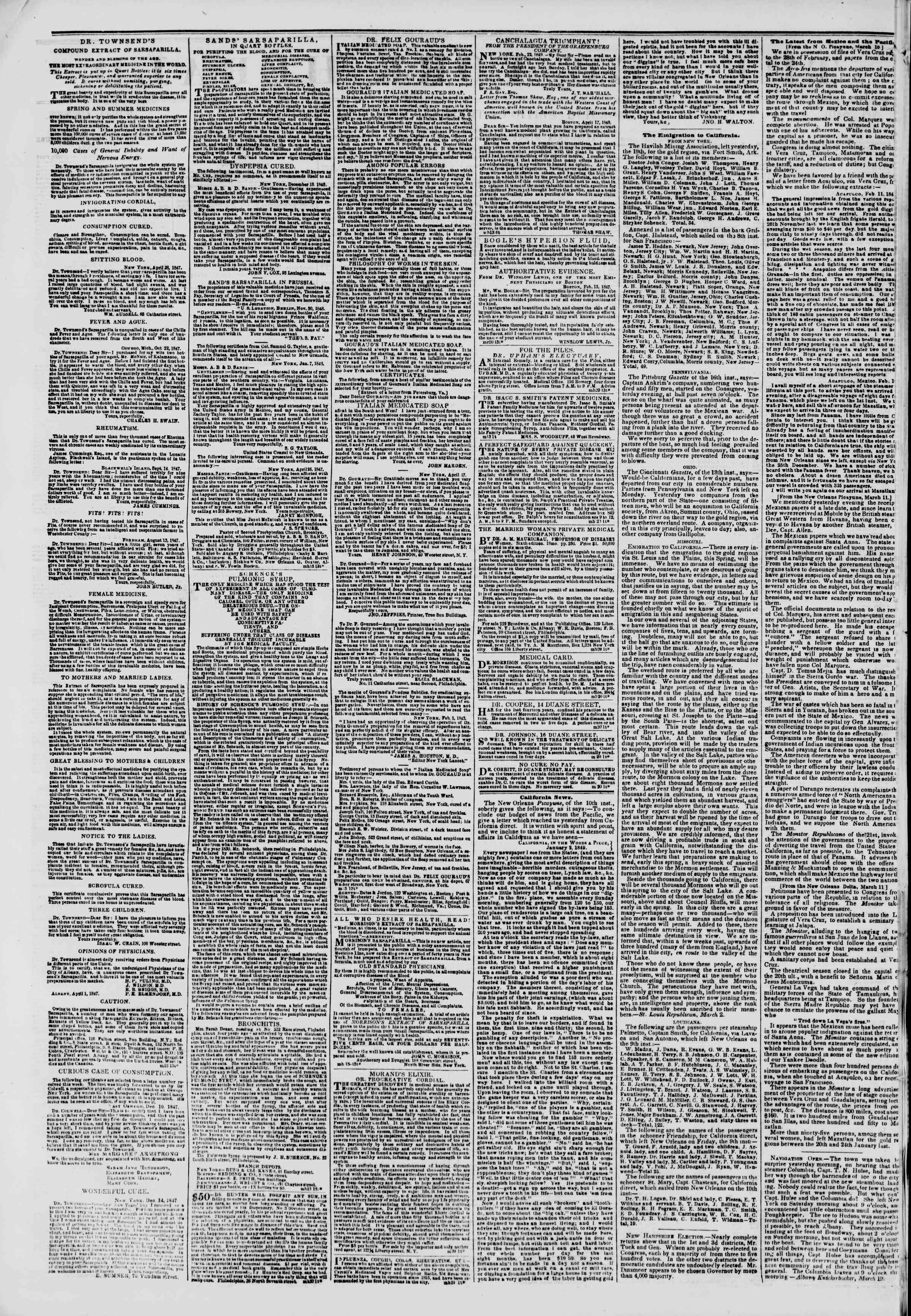 Newspaper of The New York Herald dated March 20, 1849 Page 2