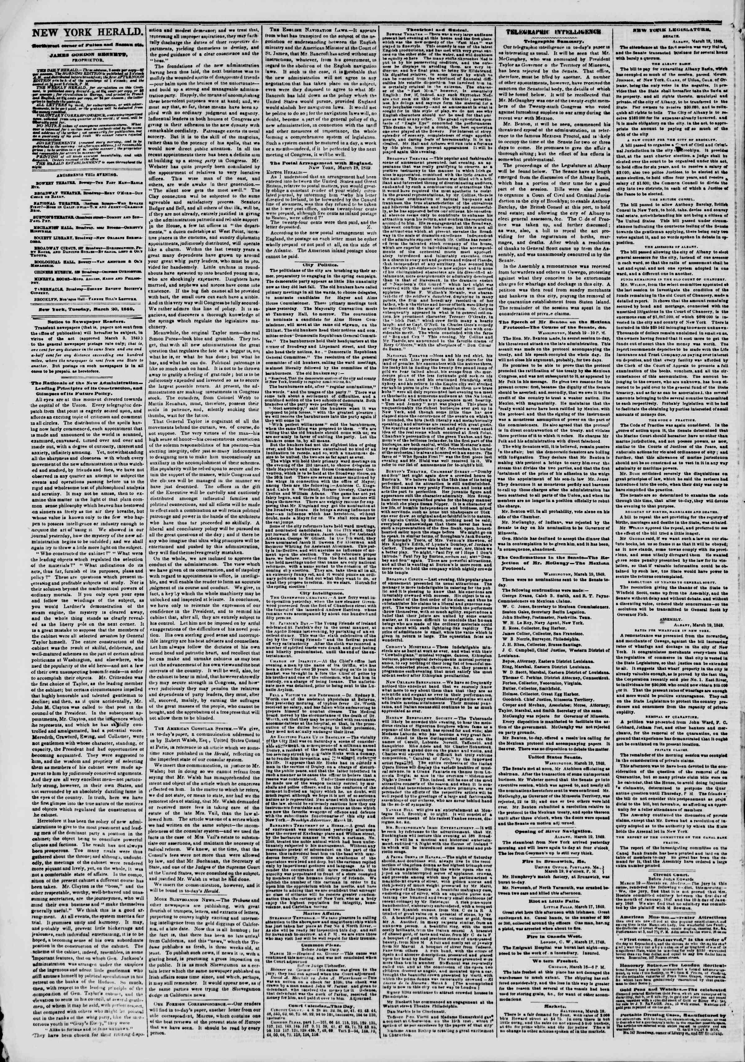 Newspaper of The New York Herald dated March 20, 1849 Page 4